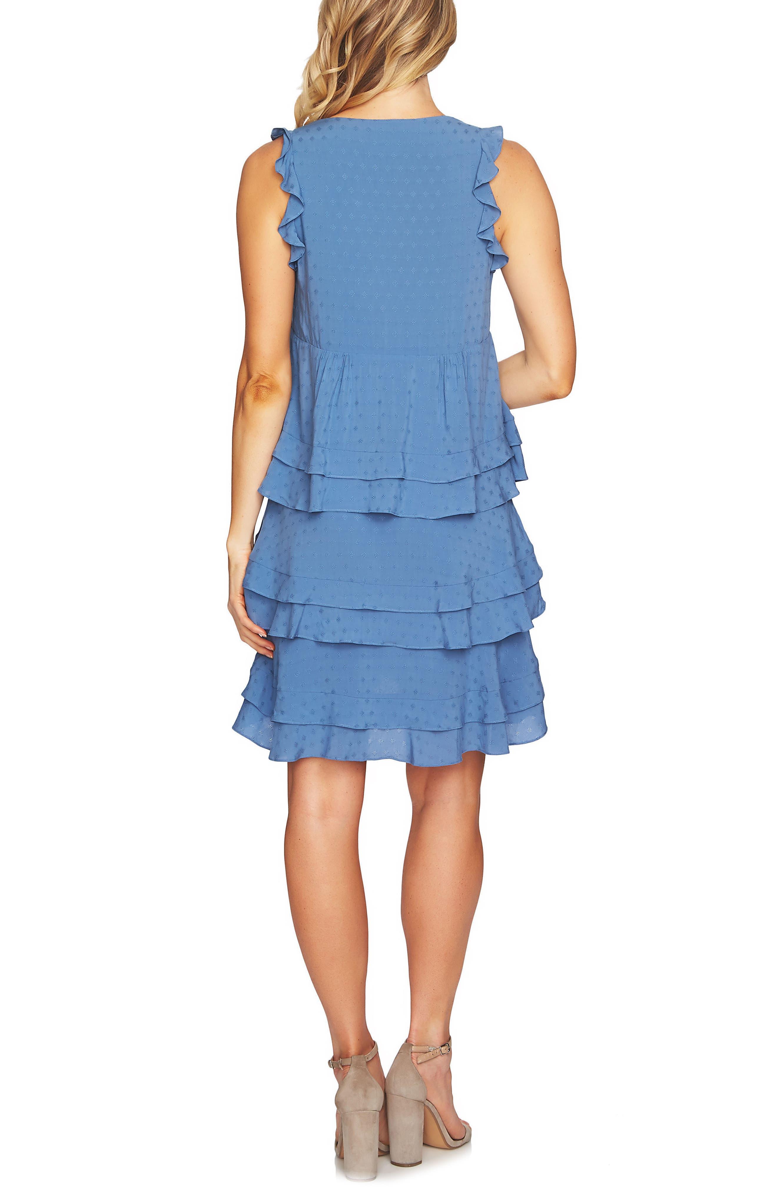Sleeveless Tiered Ruffle Dress,                             Alternate thumbnail 2, color,                             Vista Blue