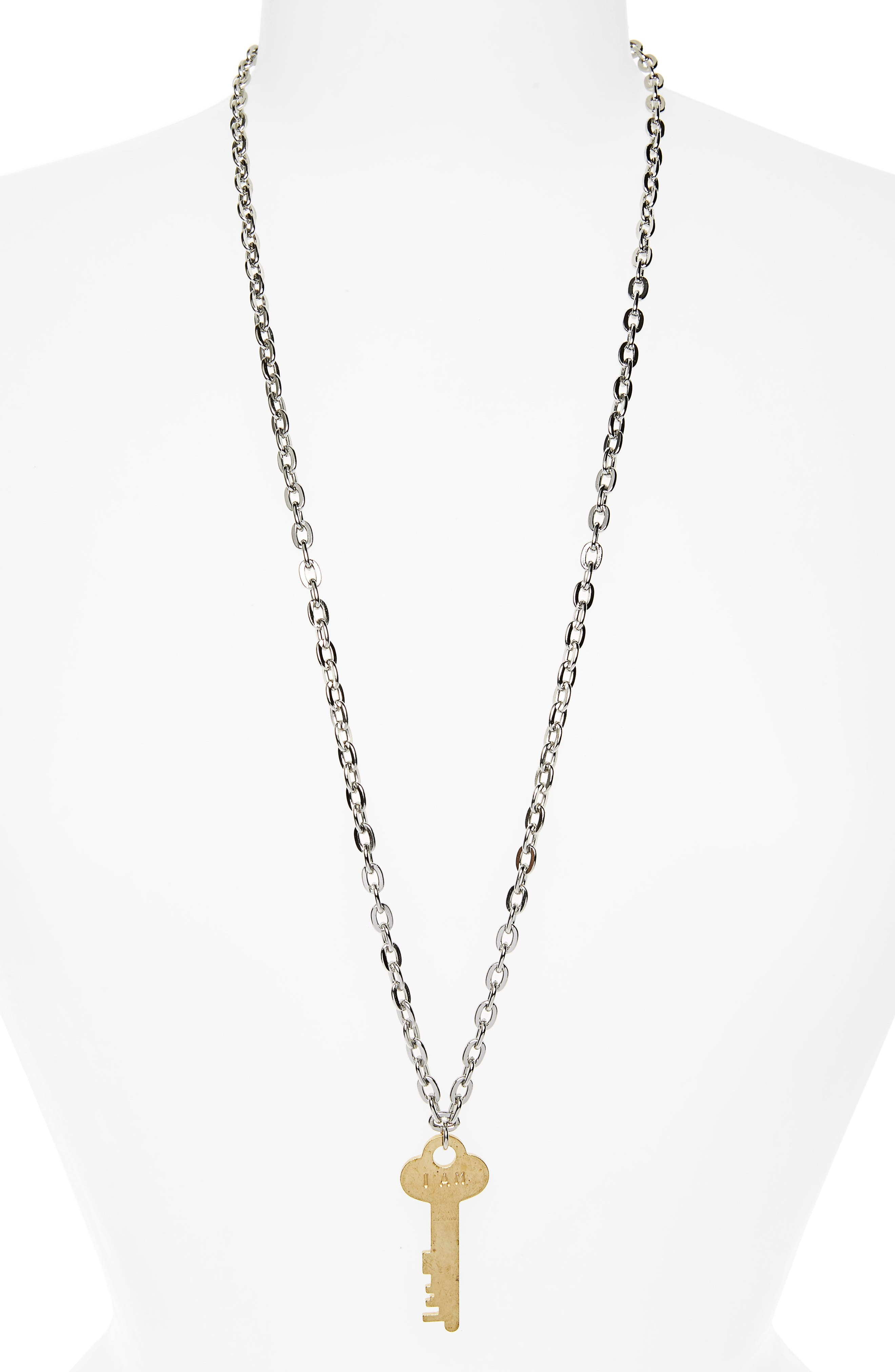 I Am Enough Key Charm Necklace,                         Main,                         color, Silver/ Gold Key