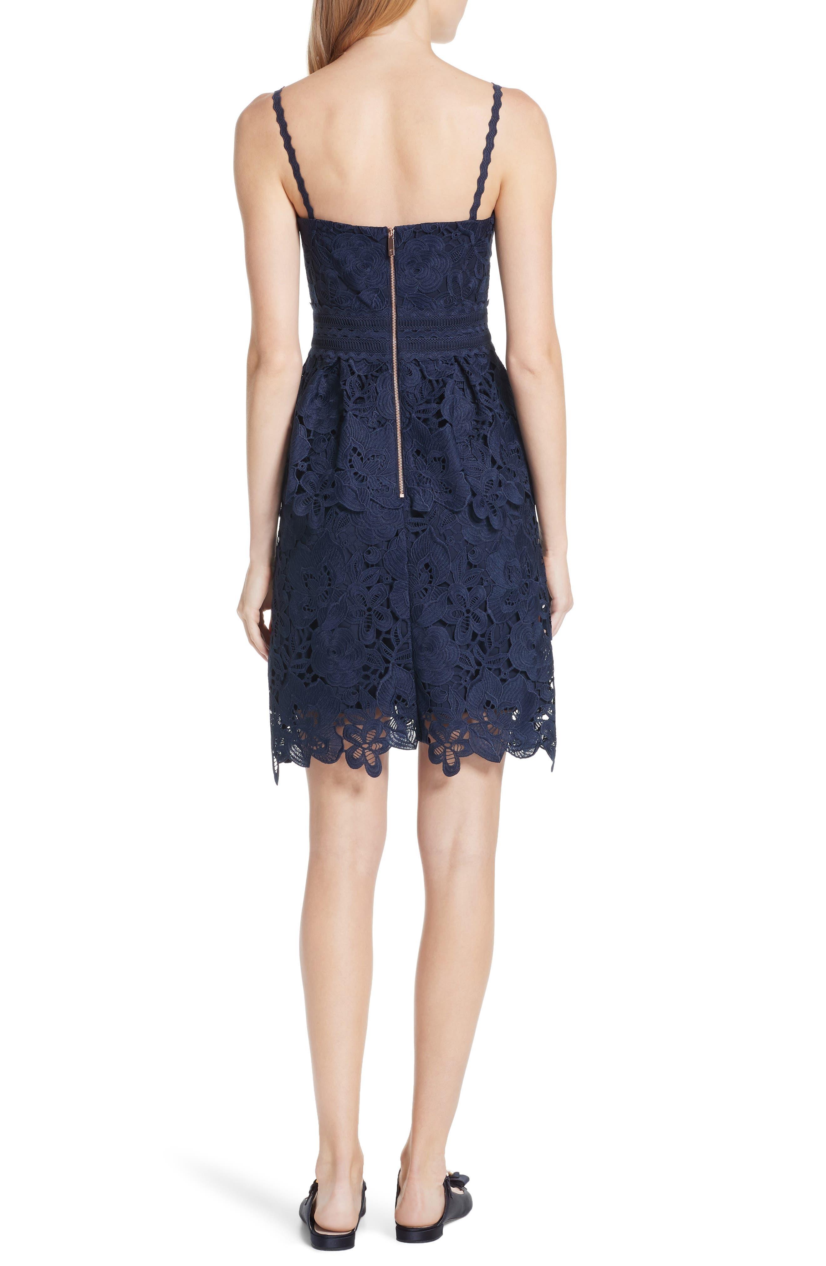 Lace Peplum Dress,                             Alternate thumbnail 2, color,                             Navy