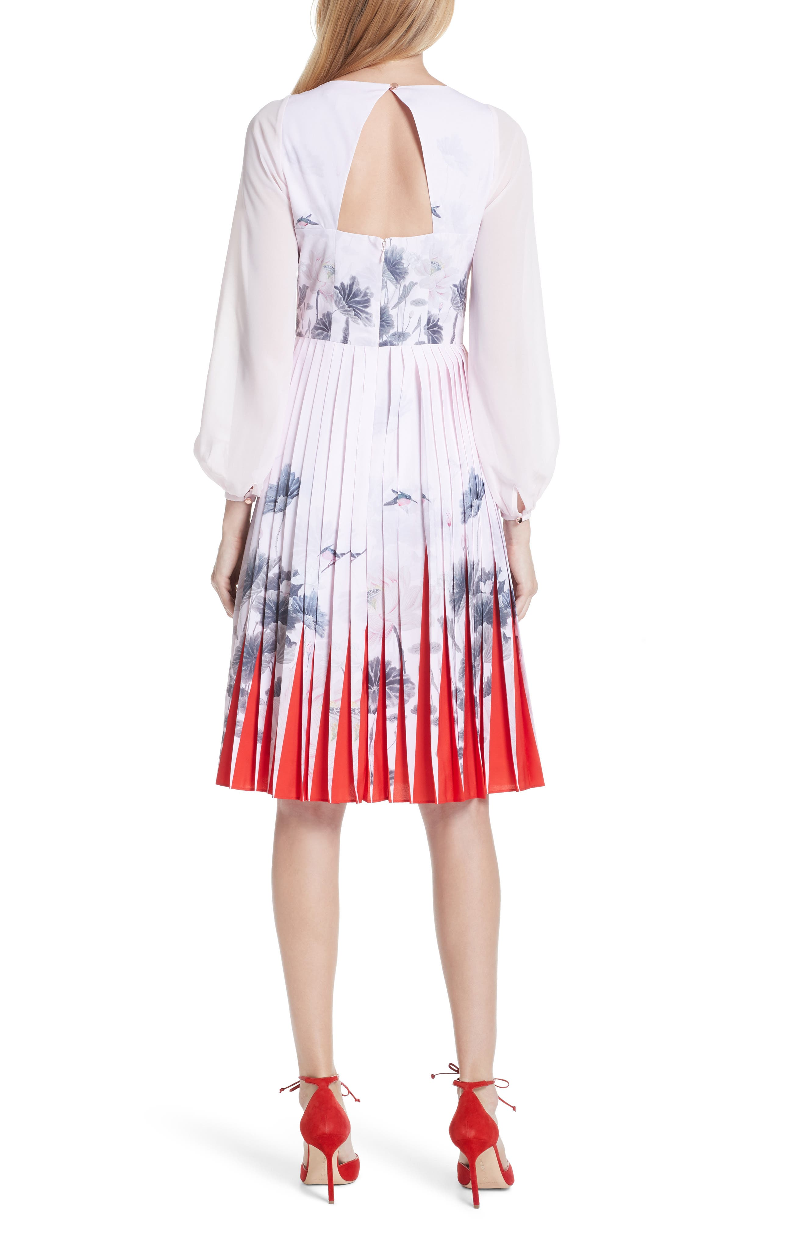 Lake of Dreams Pleated Dress,                             Alternate thumbnail 2, color,                             Dusky Pink