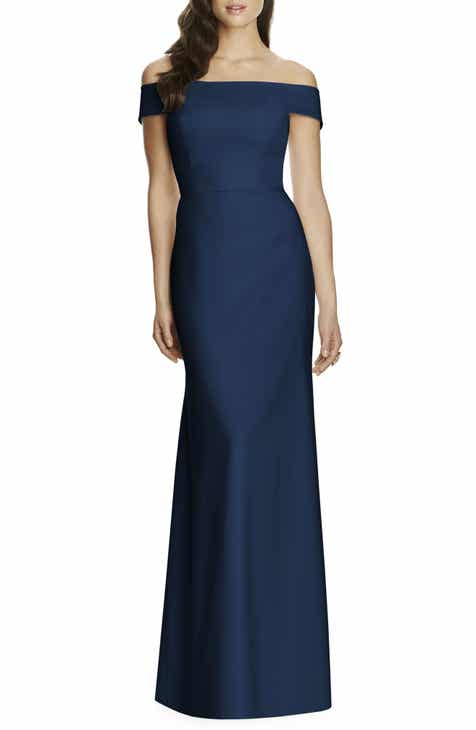 eb8434949491 Dessy Collection Off the Shoulder Crepe Gown