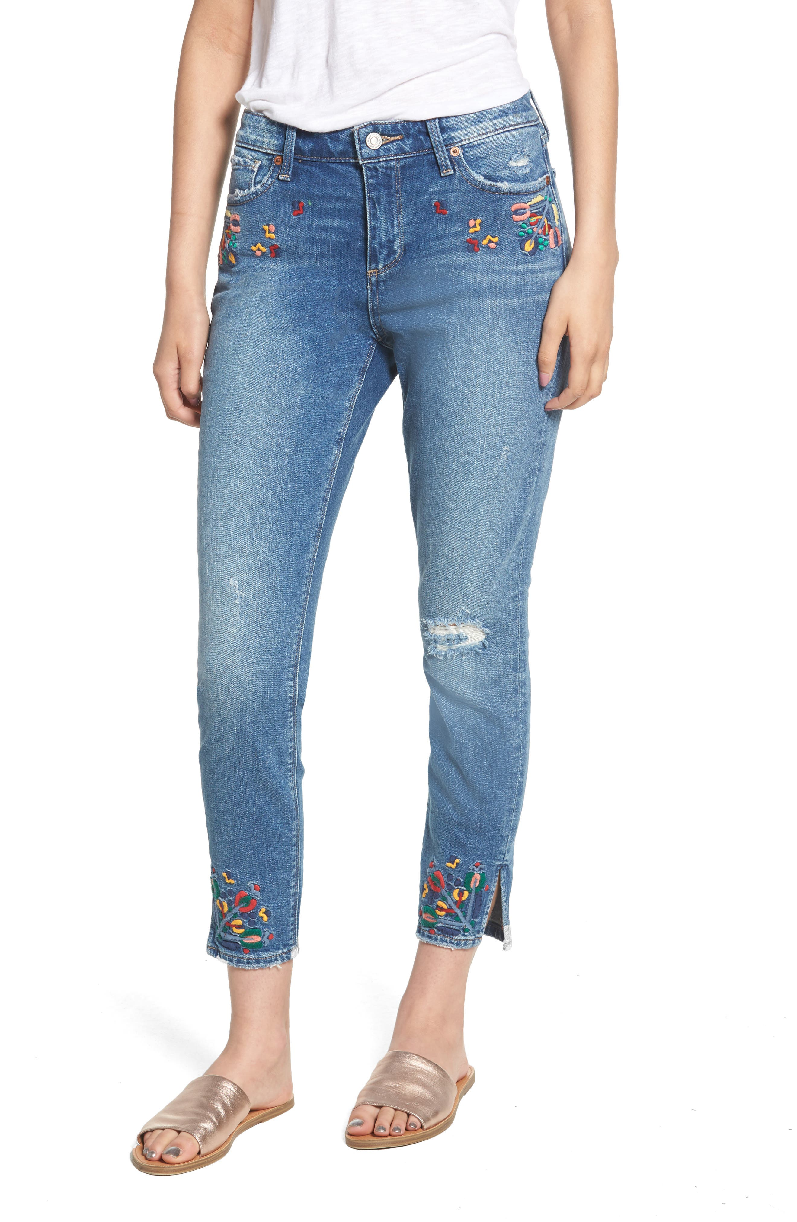 Lucky Brand Ava Embroidered Ankle Skinny Jeans (Macedonia)