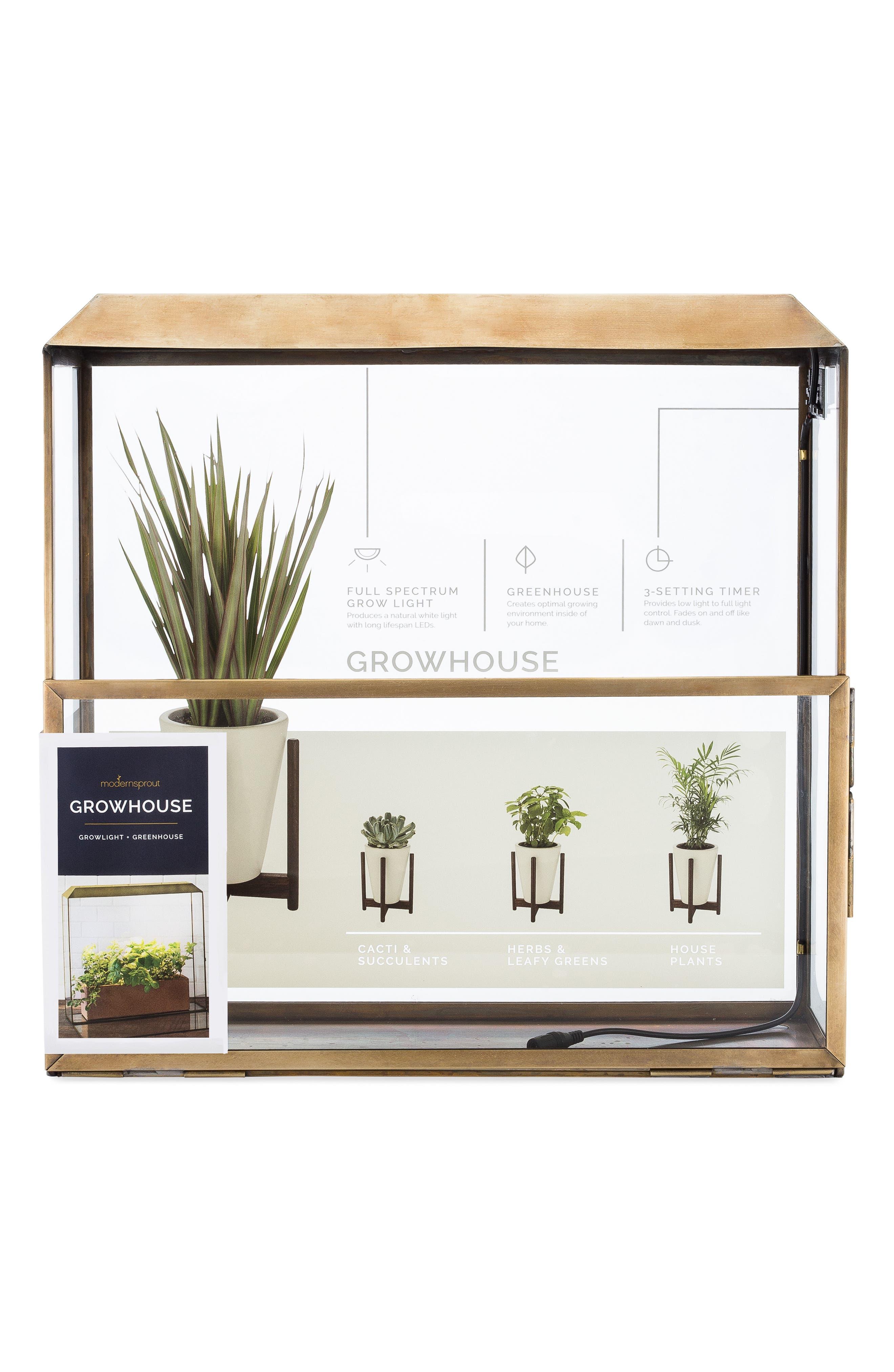 Growhouse Greenhouse & Growlight,                             Alternate thumbnail 3, color,                             Brass N Glass