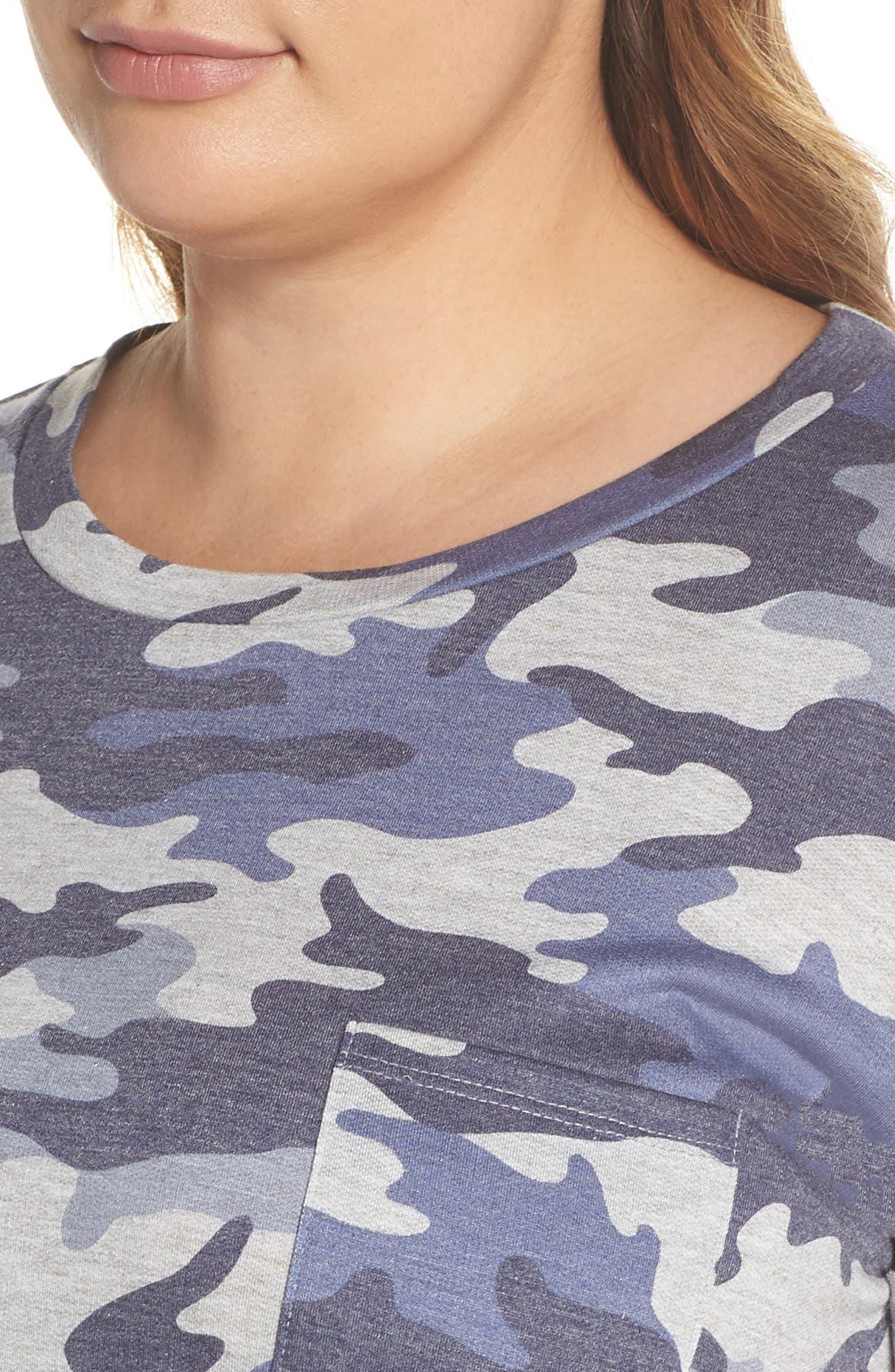 Camo T-Shirt Dress,                             Alternate thumbnail 4, color,                             Blue Camo