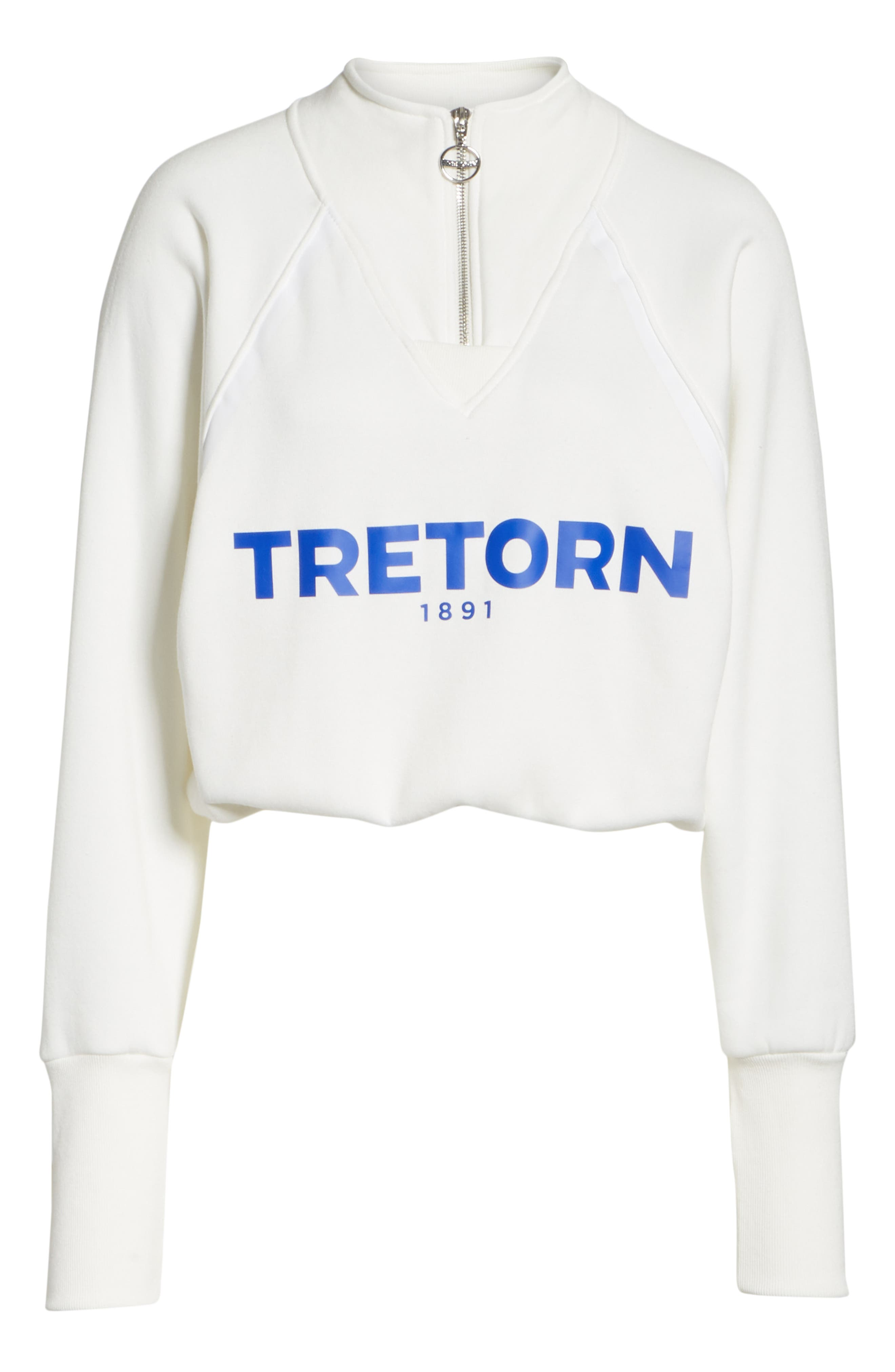 Graphic Half Zip Pullover,                             Alternate thumbnail 6, color,                             White