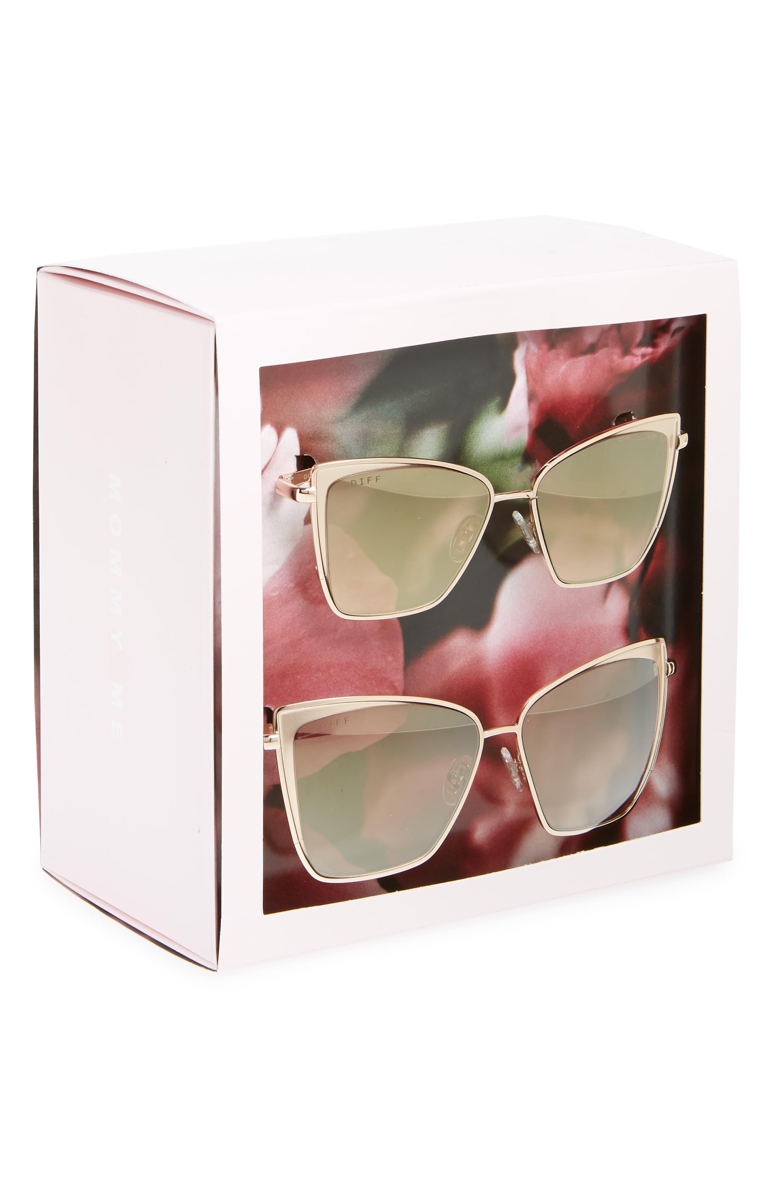 Mommy & Me Becky 2-Pack Cat Eye Sunglasses,                             Alternate thumbnail 3, color,                             Gold/ Brown