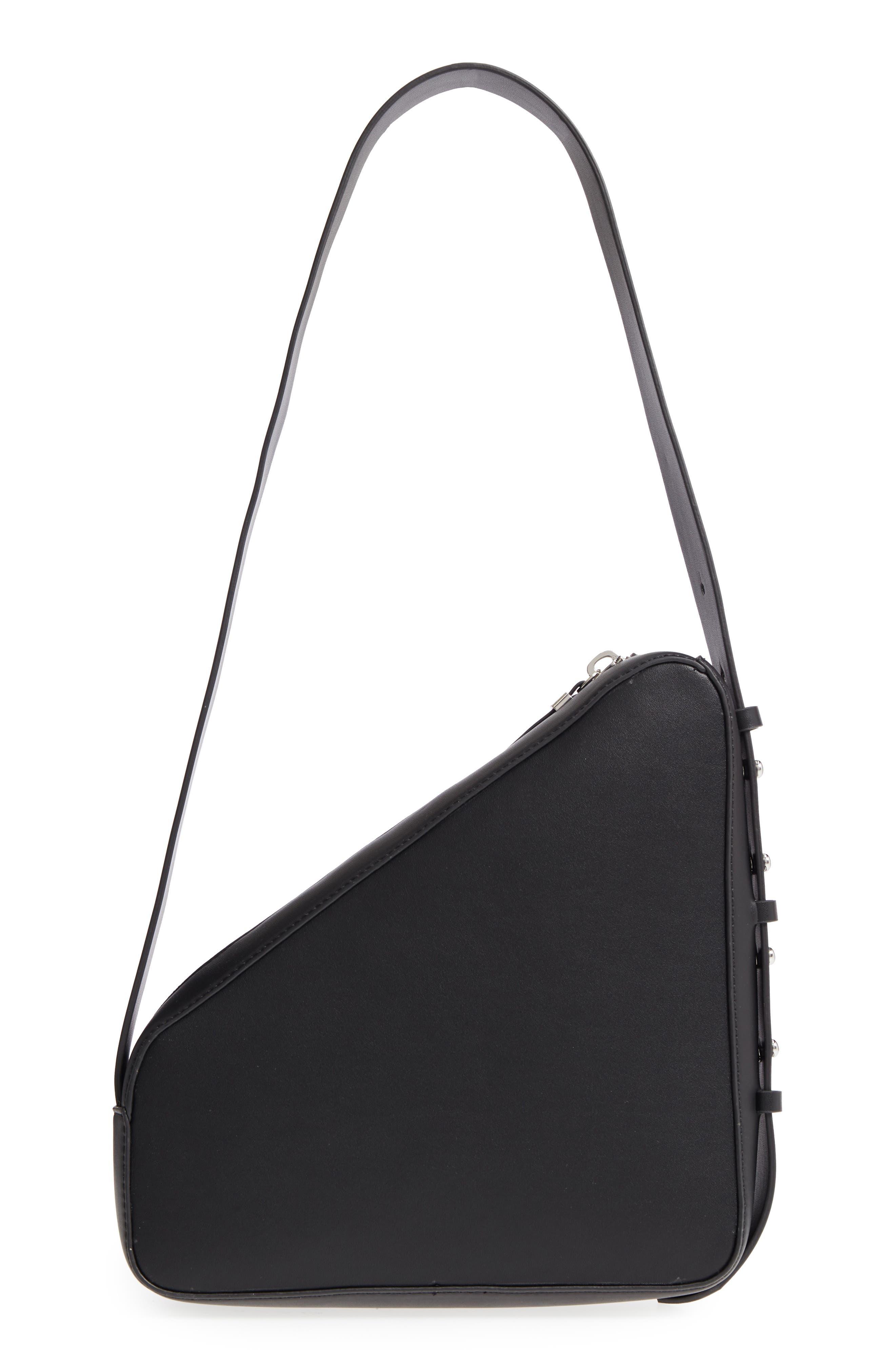 Triangle Zip Shoulder Bag,                             Alternate thumbnail 3, color,                             Black