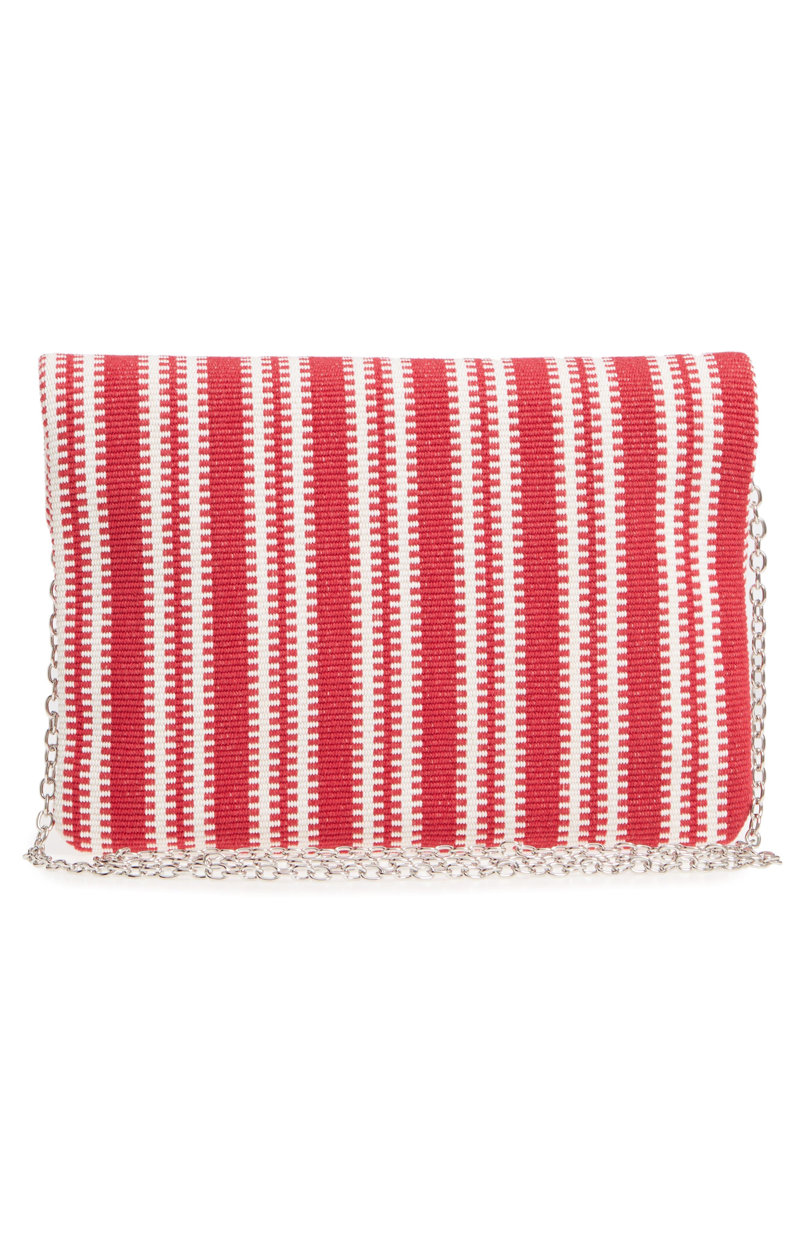 Stripe Woven Clutch,                             Alternate thumbnail 3, color,                             Red Multi