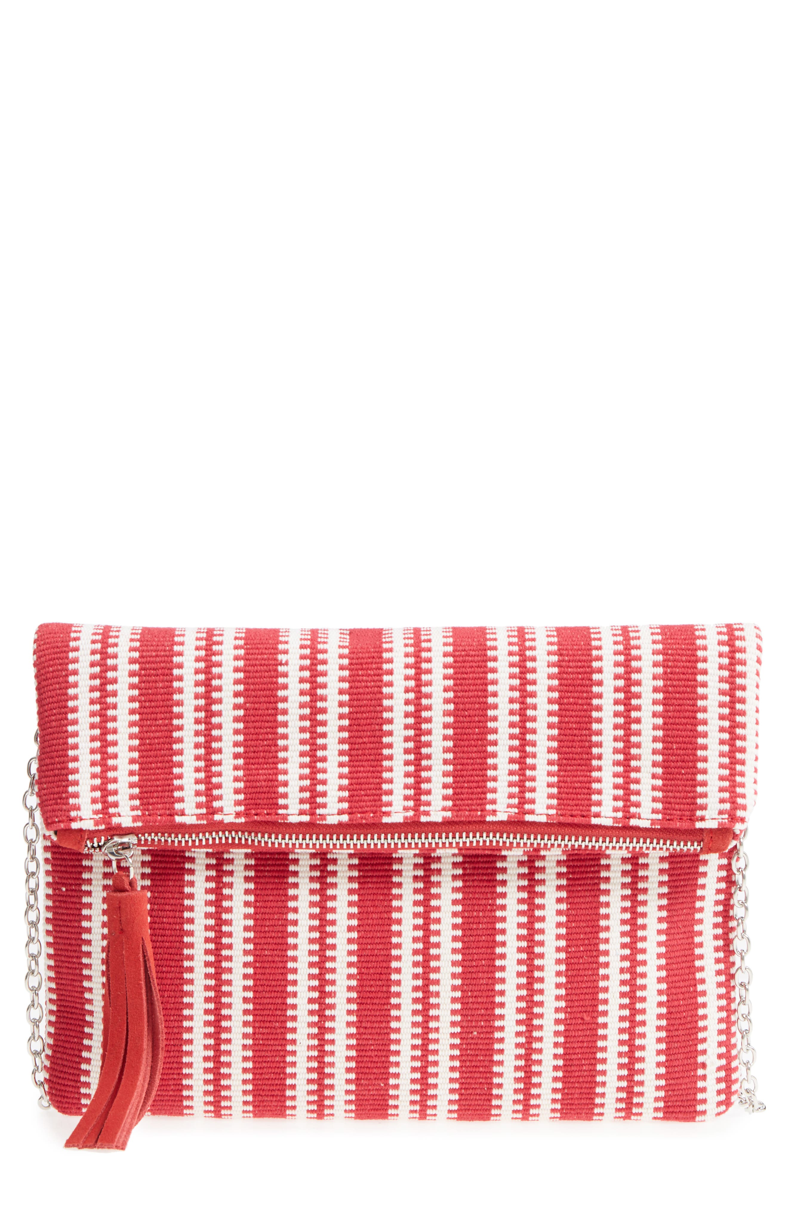 Stripe Woven Clutch,                             Main thumbnail 1, color,                             Red Multi