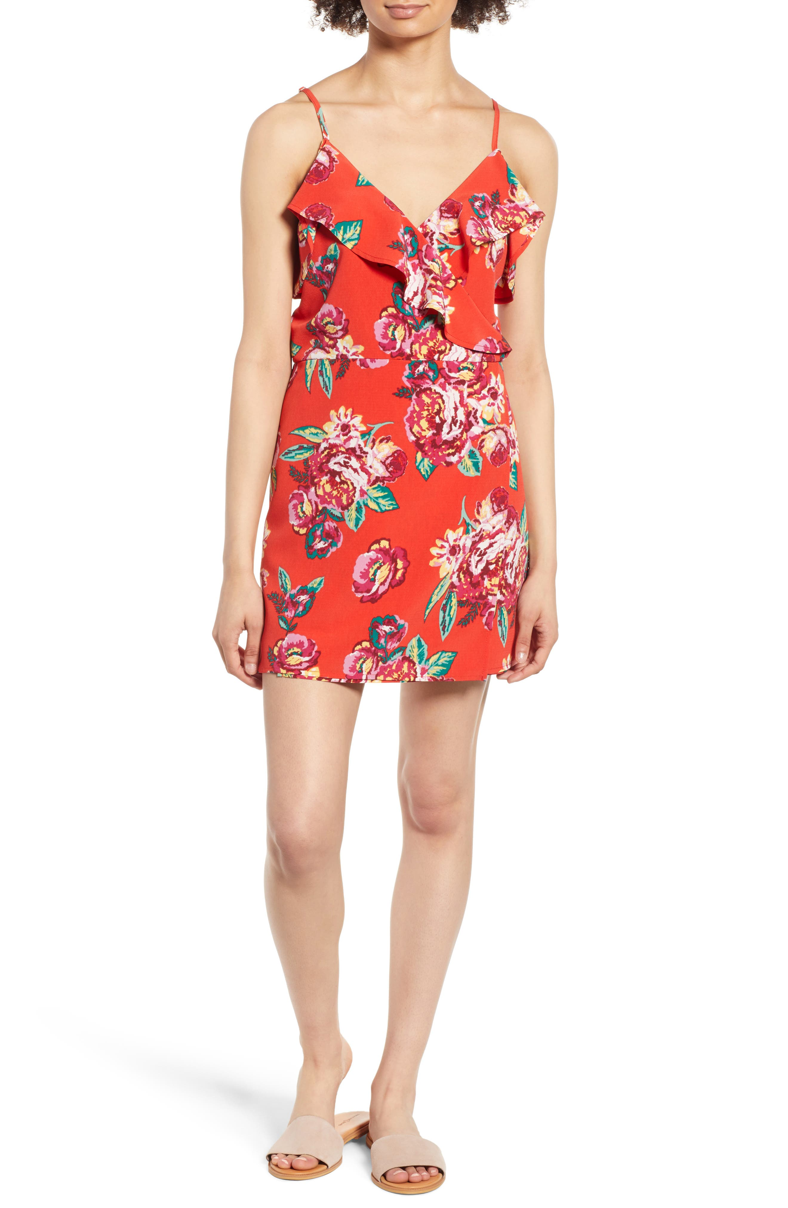 Floral Wrap Style Romper,                             Main thumbnail 1, color,                             Red Lipstick Summer Floral