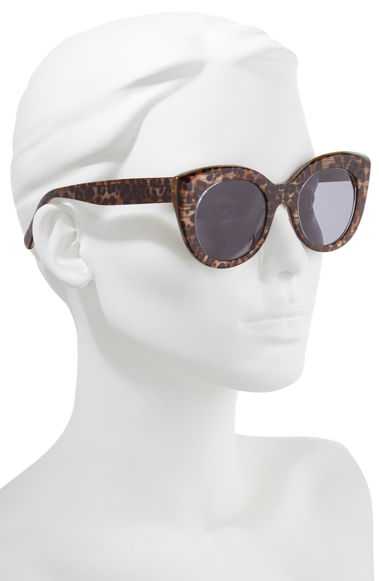 D'BLANC x Amuse Society Modern Lover 51mm Cat Eye Sunglasses,                             Alternate thumbnail 2, color,                             Cheetah/ Grey