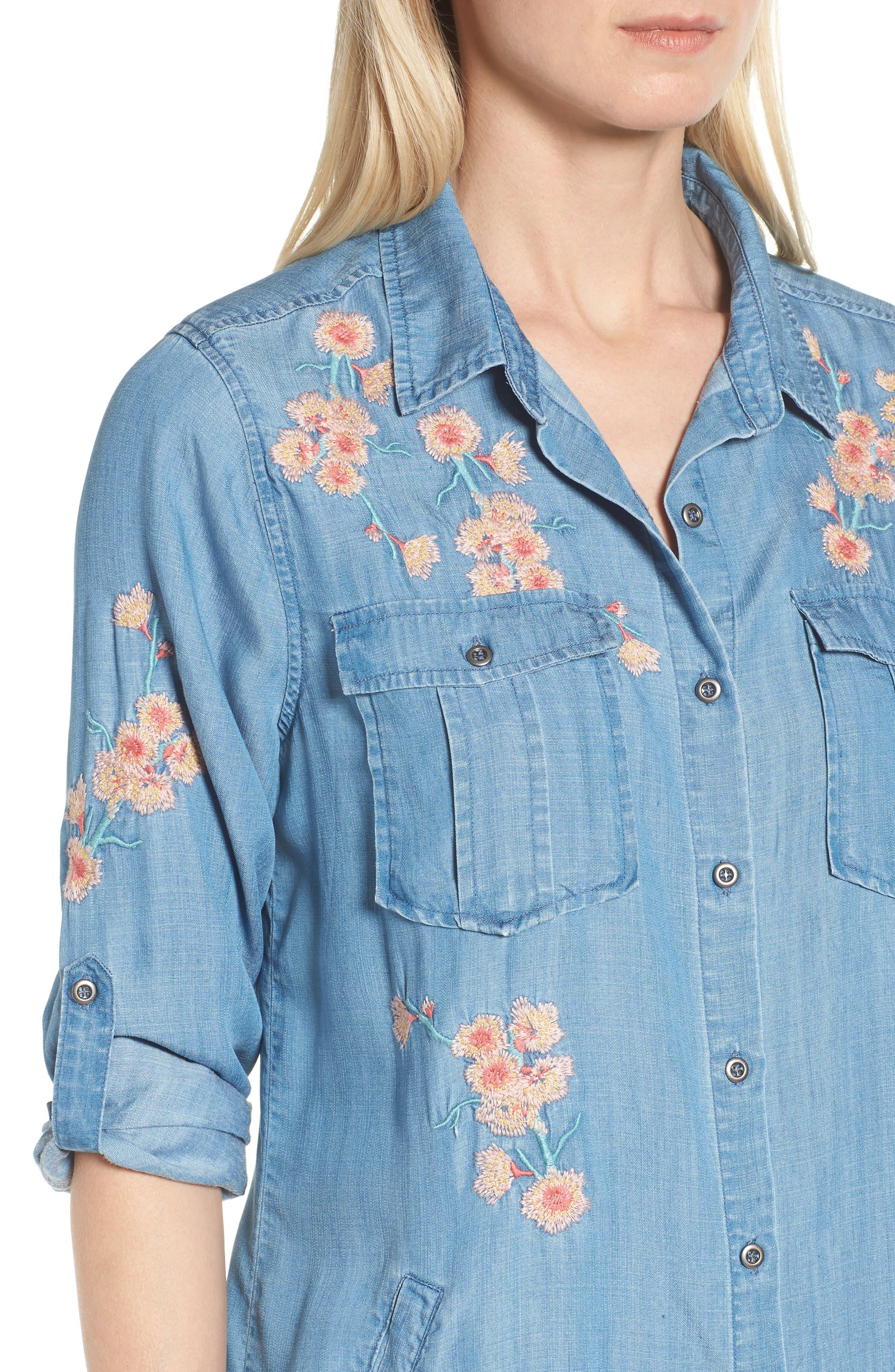 Cherry Blossom Shirtdress,                             Alternate thumbnail 4, color,                             Blue Emb