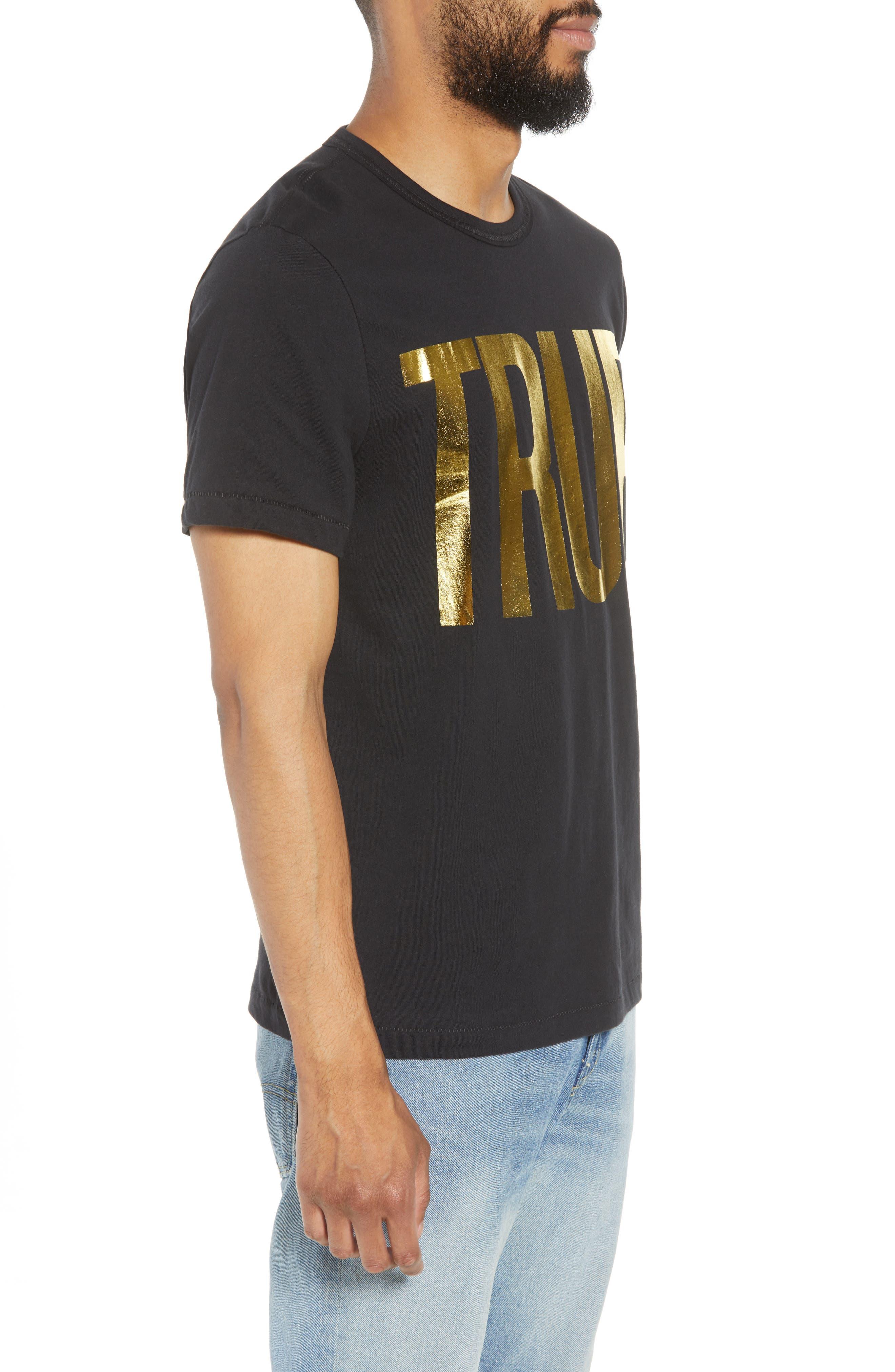 Gold Foil Logo T-Shirt,                             Alternate thumbnail 3, color,                             True Black