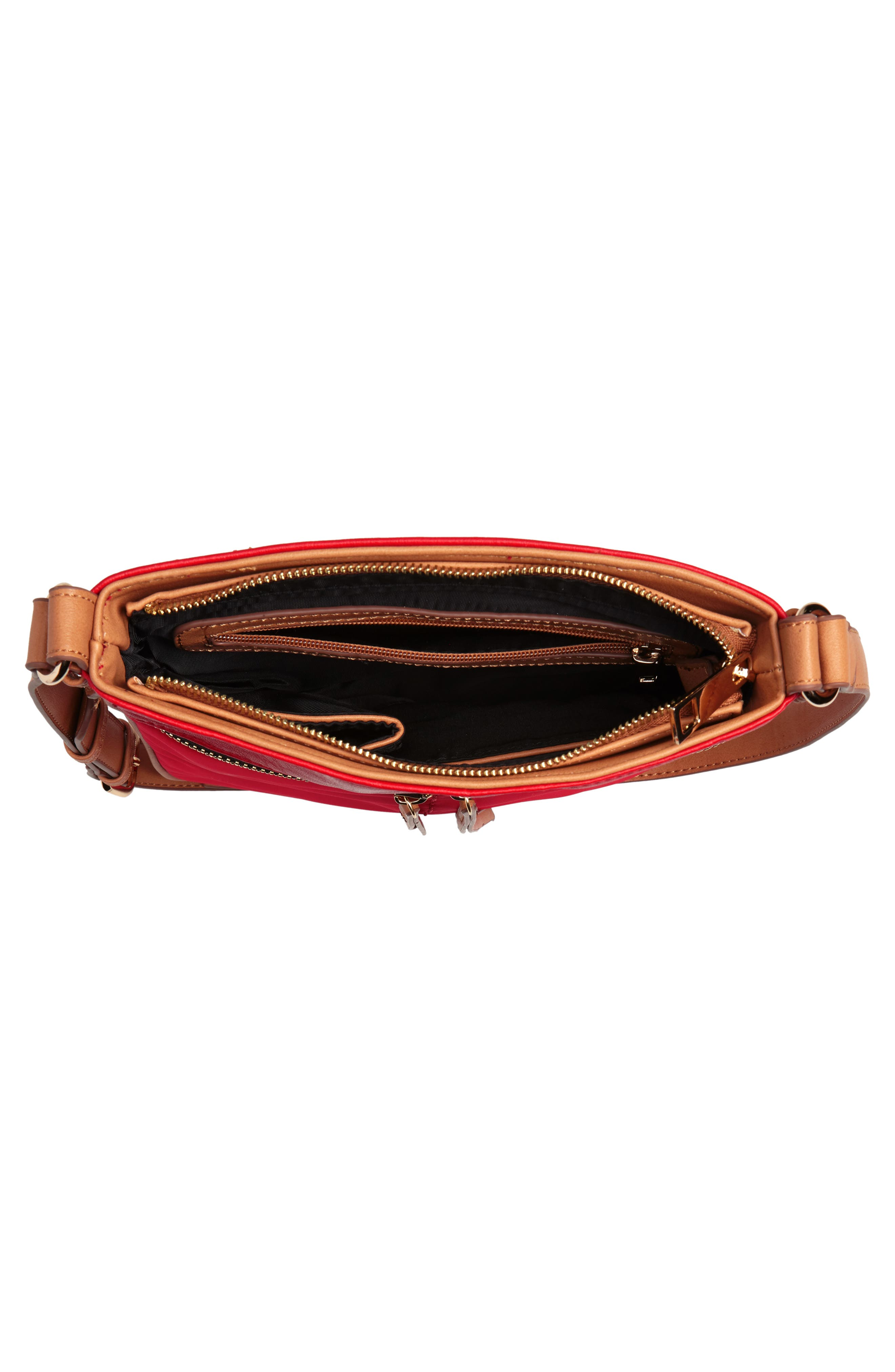 Nylon & Faux Leather Crossbody Bag,                             Alternate thumbnail 4, color,                             Red