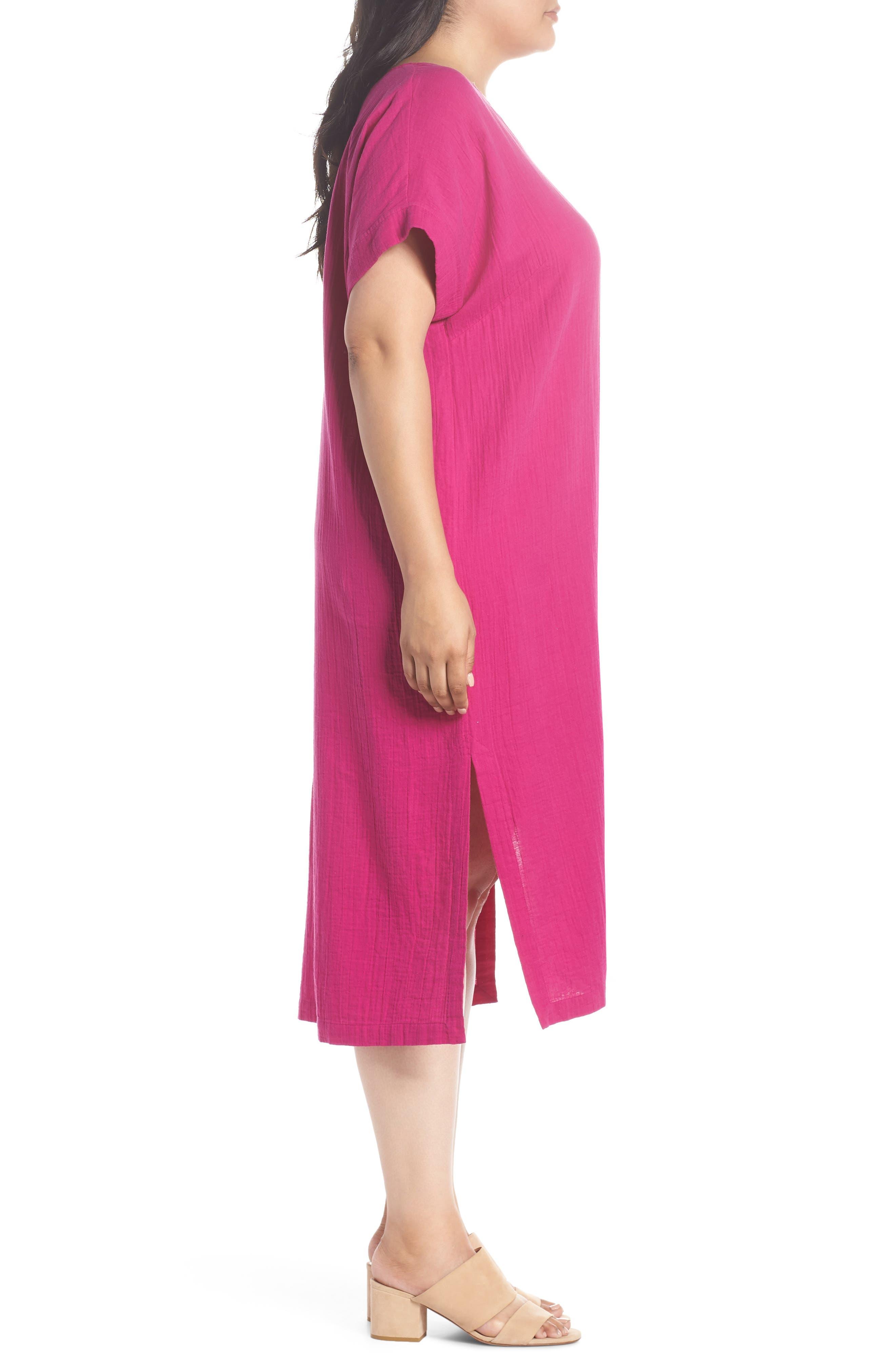 V-Neck Cotton Midi Dress,                             Alternate thumbnail 3, color,                             Cerise