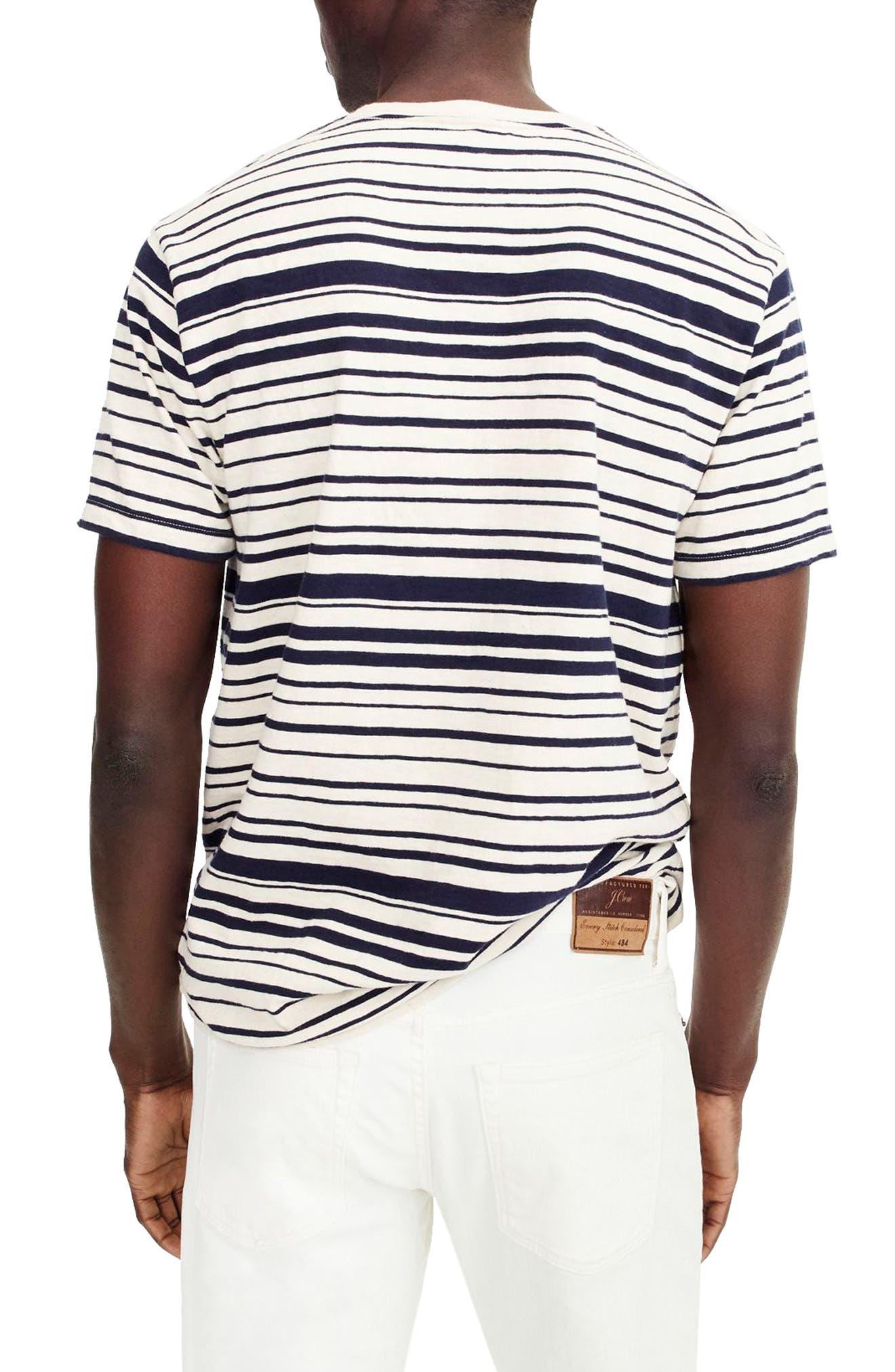 Variegated Stripe Slub Cotton T-Shirt,                             Alternate thumbnail 2, color,                             Ivory Navy