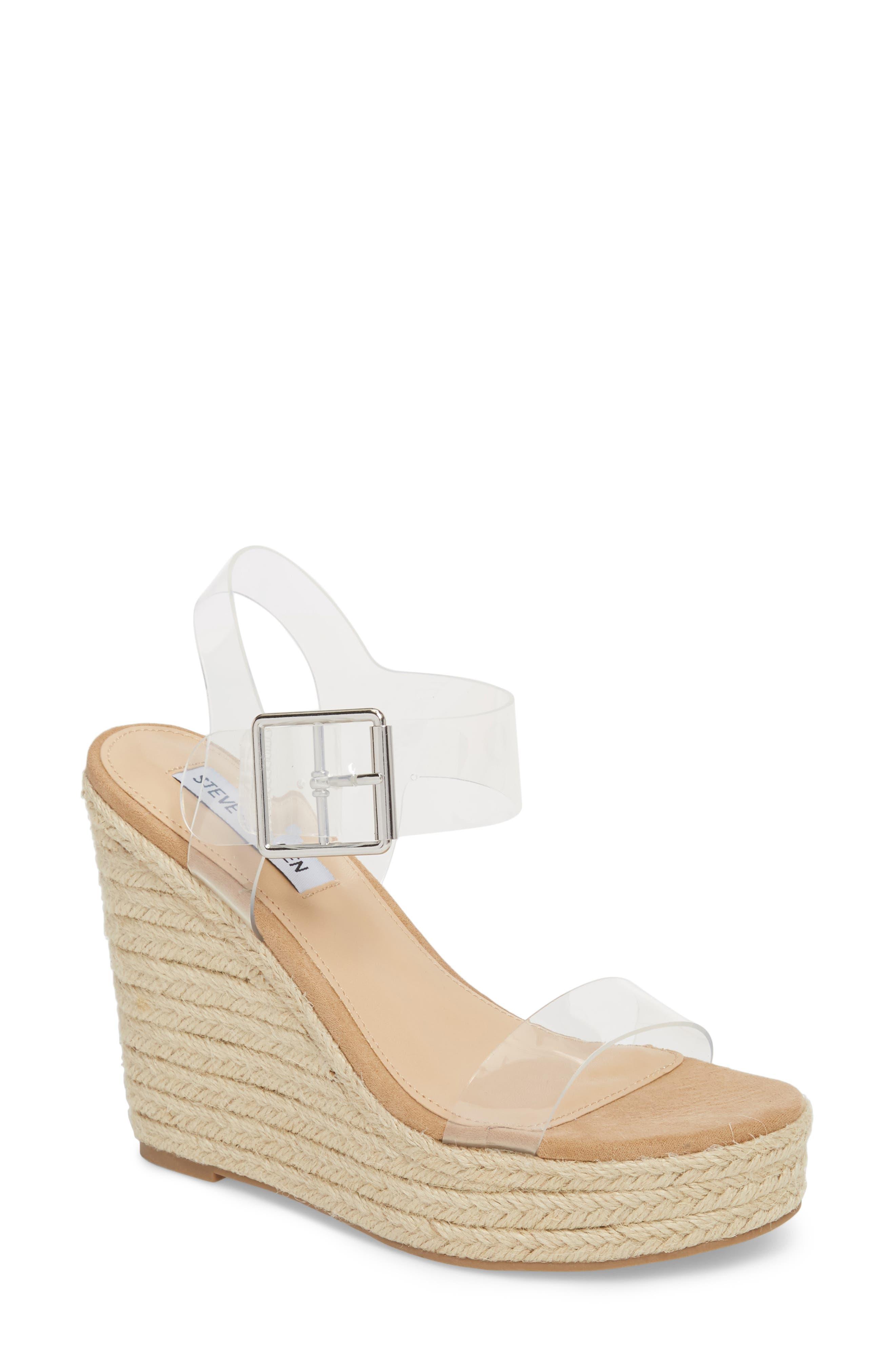 Steve Madden Splash Transparent Strap Wedge Sandal (Women)