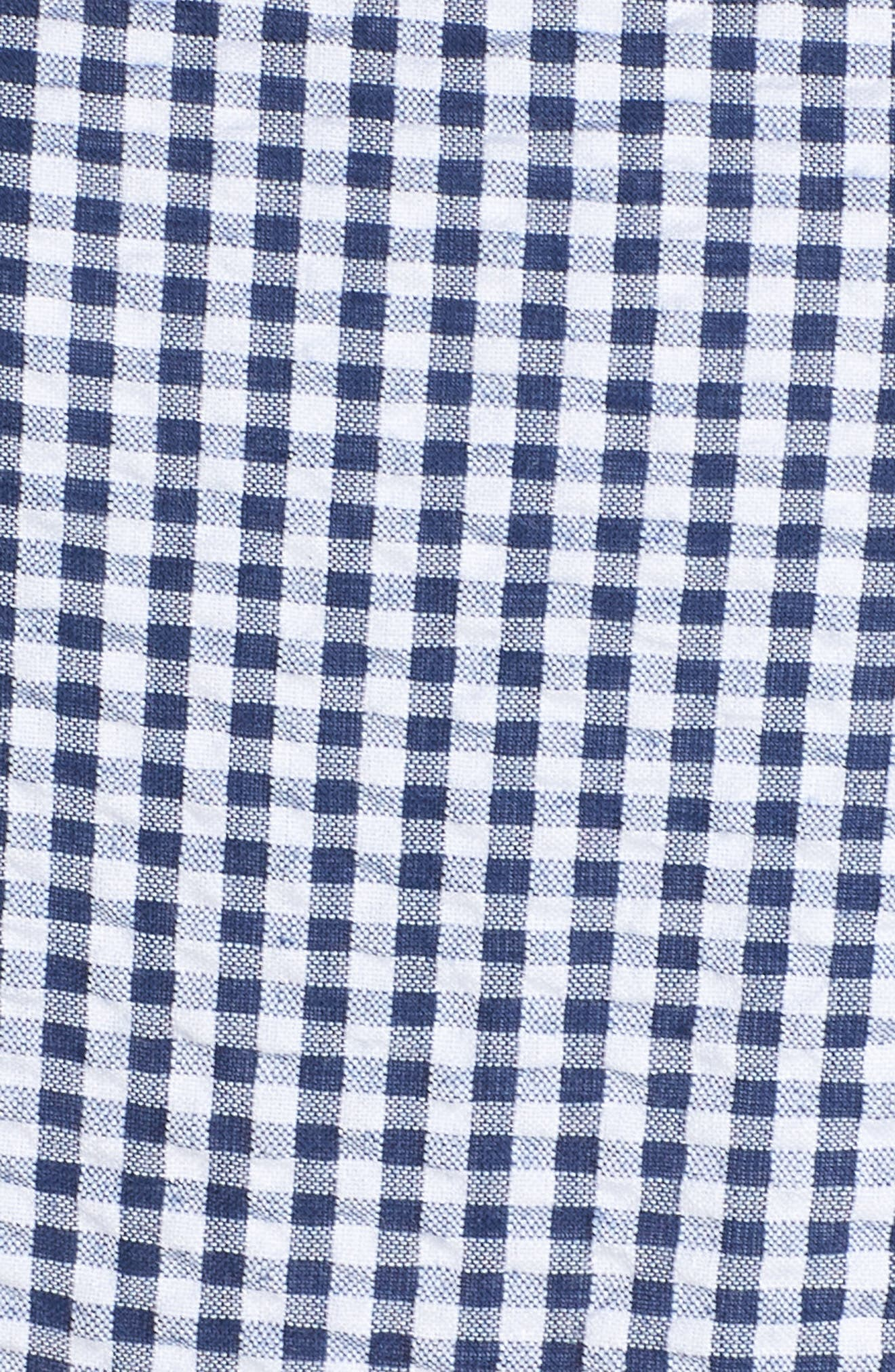 Ruffle Hem Seersucker Check Fit & Flare Dress,                             Alternate thumbnail 6, color,                             Navy/ Ivory