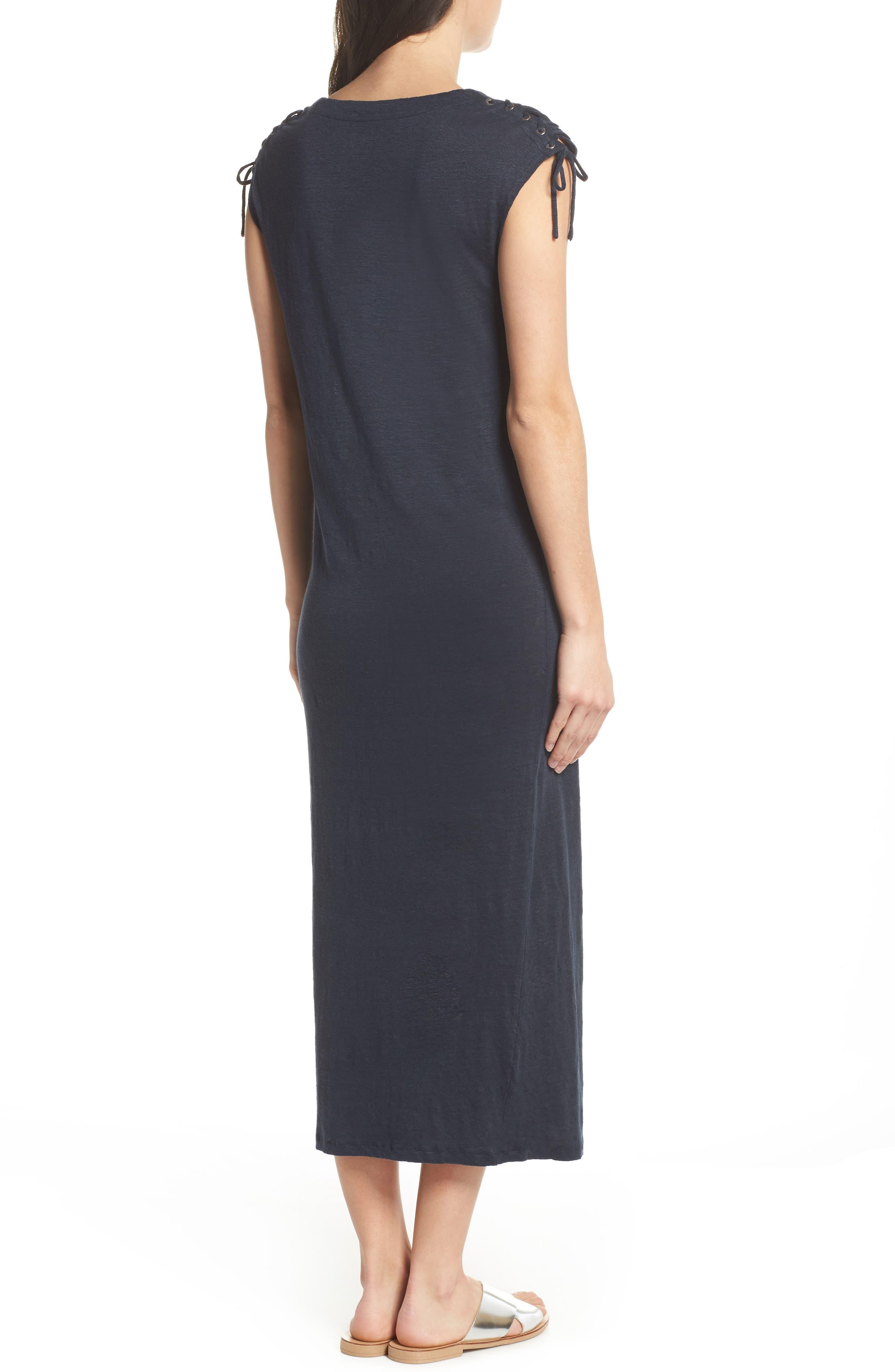 Lace-up Shoulder Jersey Midi Dress,                             Alternate thumbnail 2, color,                             Navy