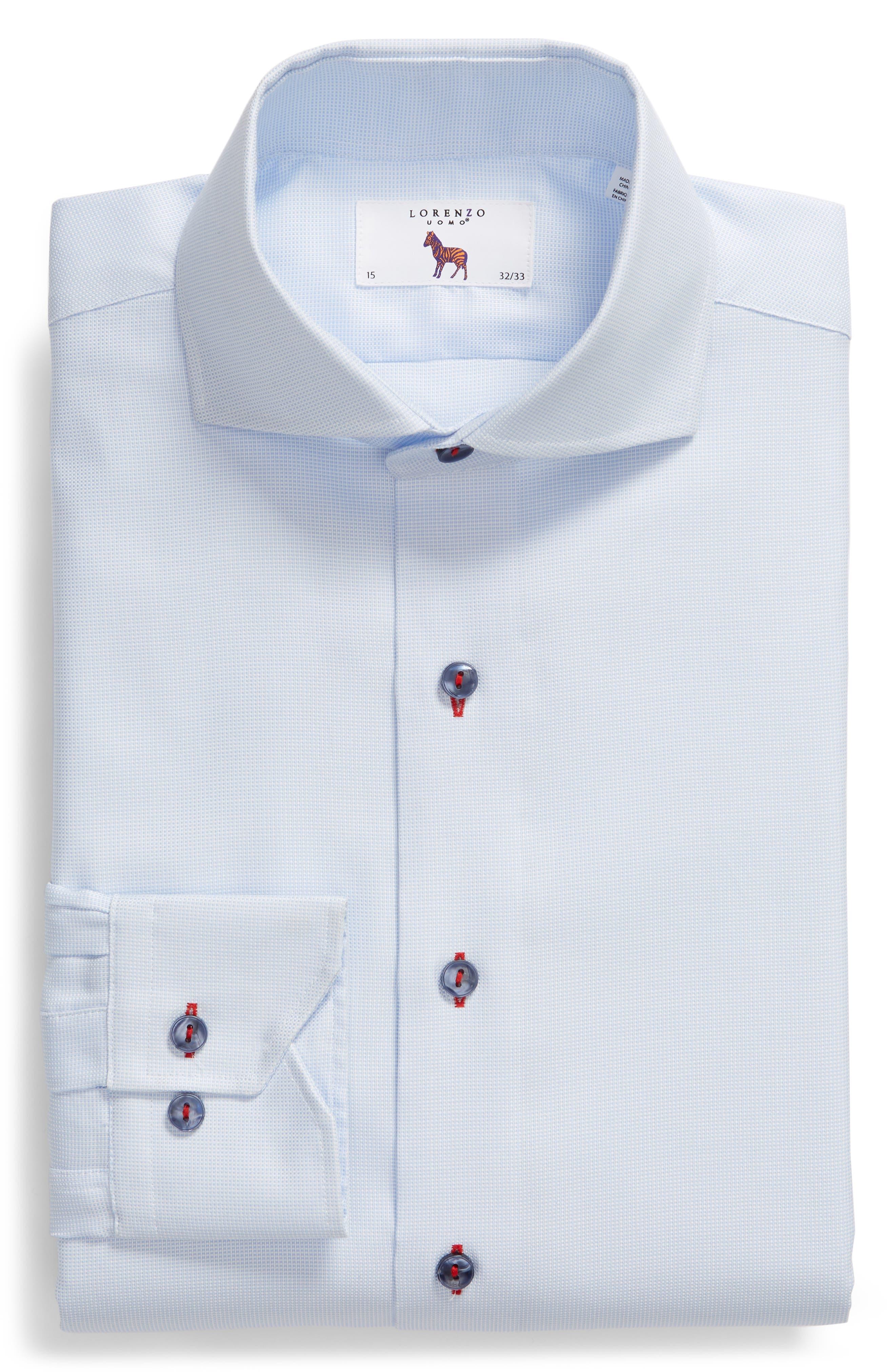 Trim Fit Solid Dress Shirt,                             Alternate thumbnail 6, color,                             Light Blue
