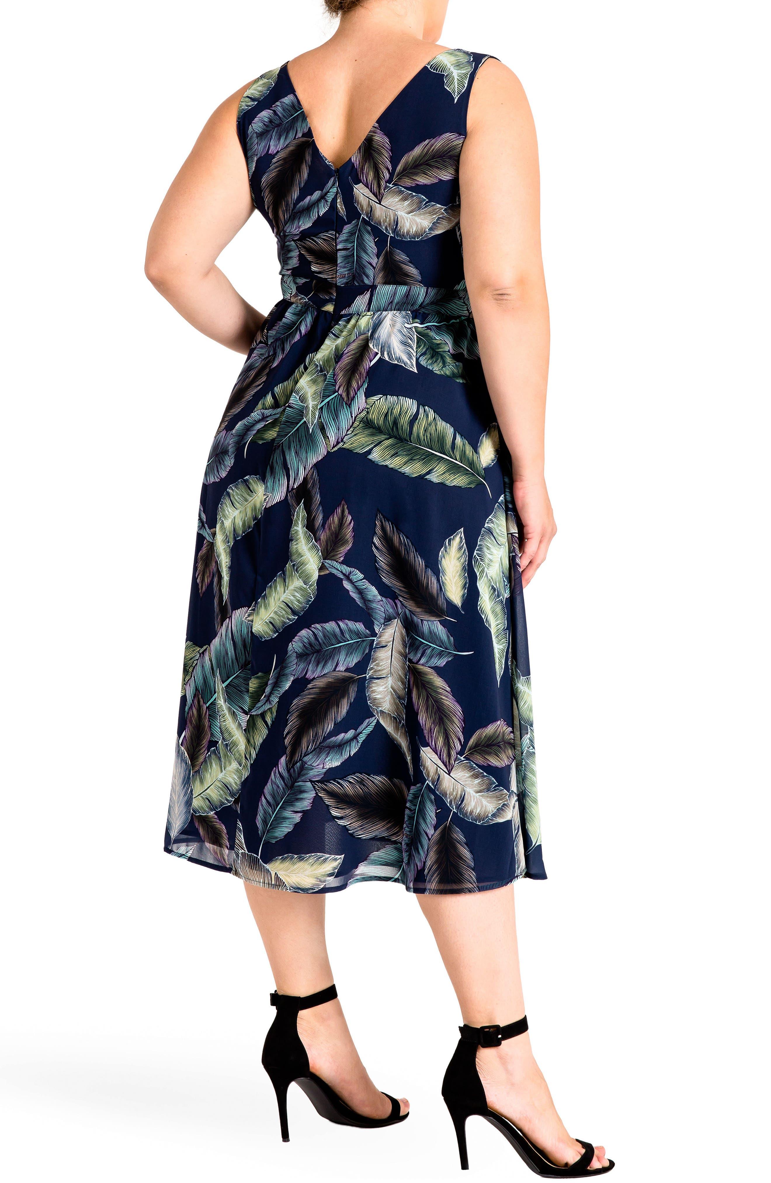 Naya Deep V-Neck Midi Dress,                             Alternate thumbnail 2, color,                             Leaf Print
