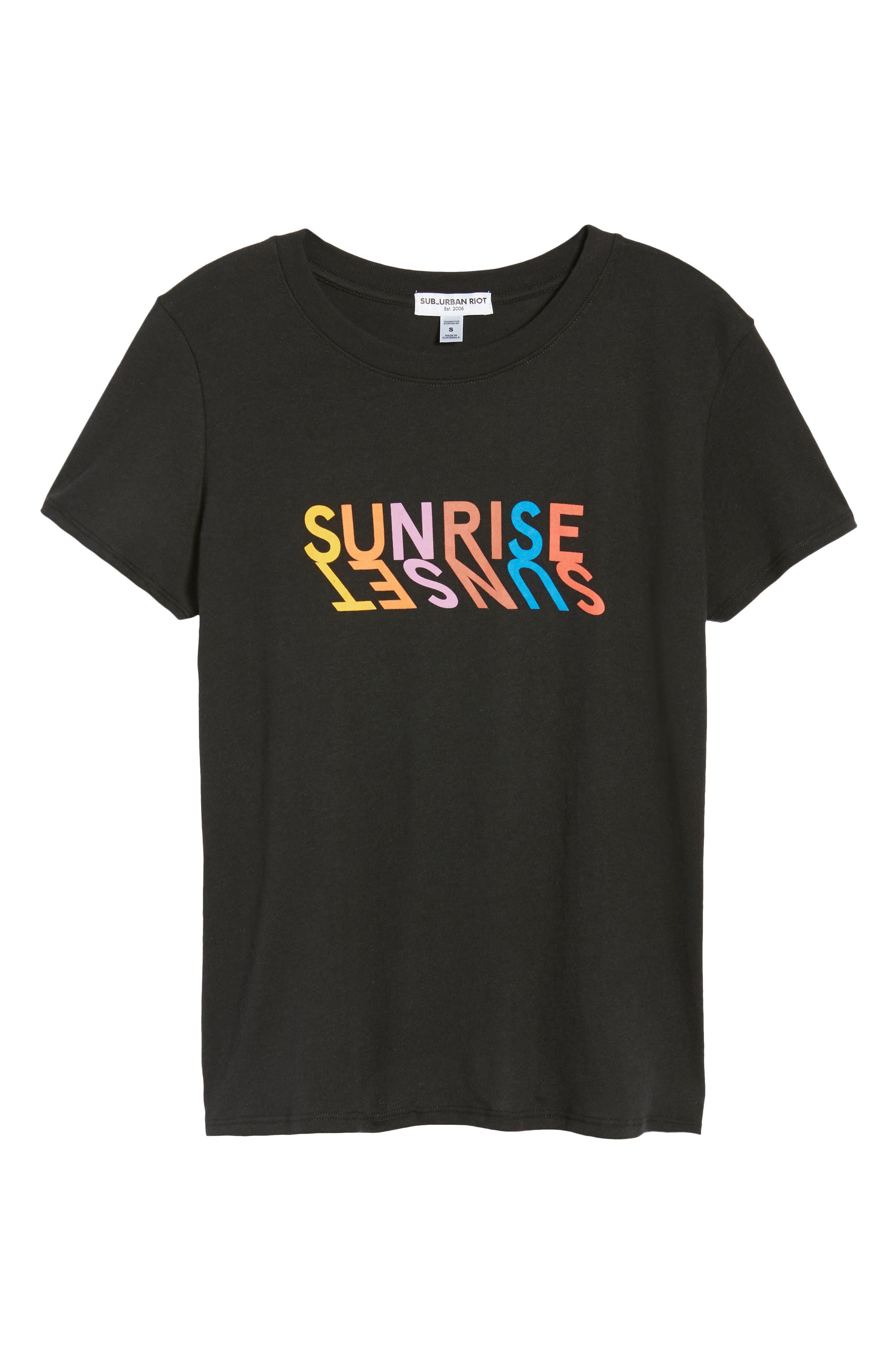 Sunrise Sunset Slouched Tee,                             Alternate thumbnail 6, color,                             Black
