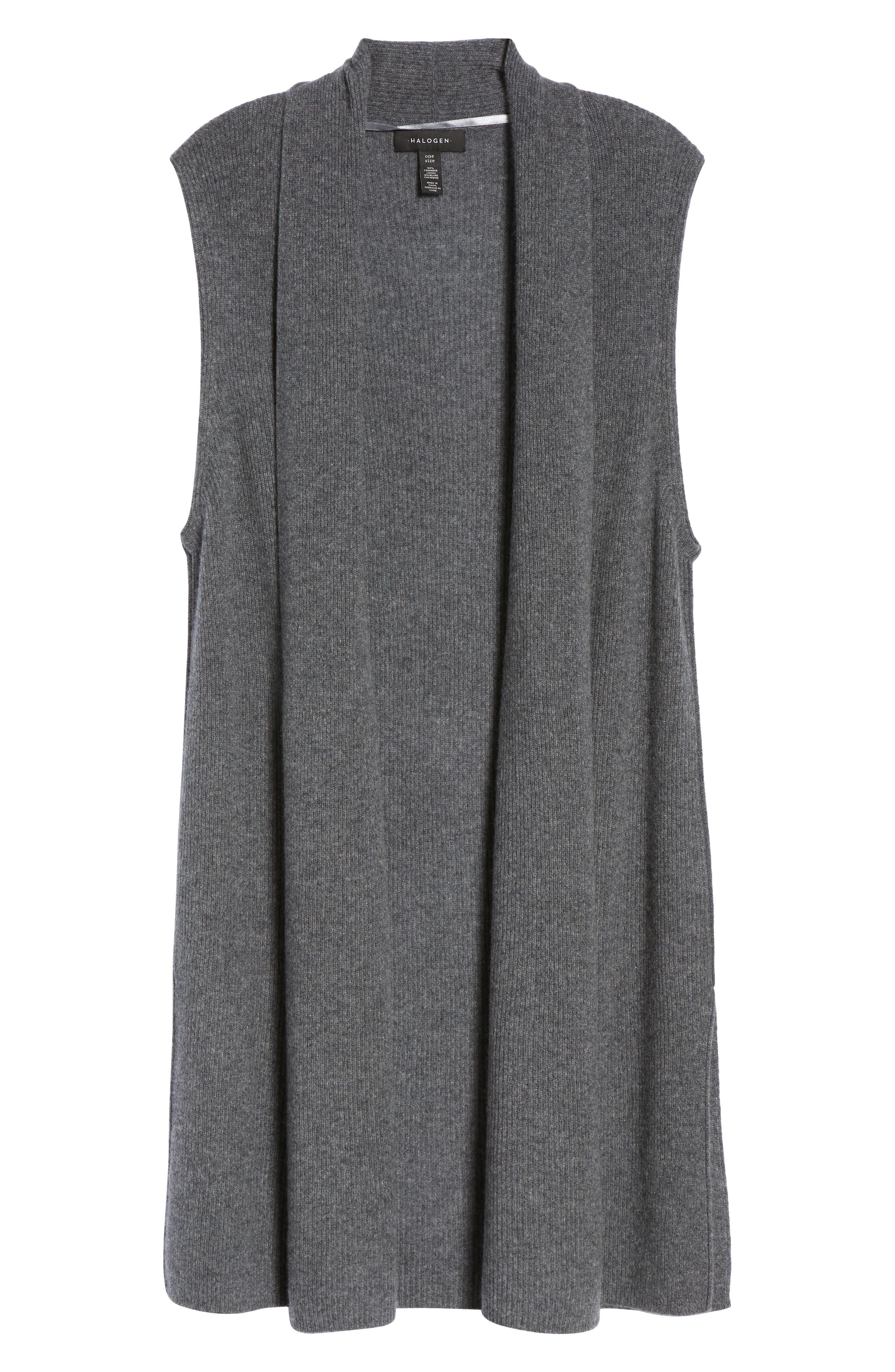 Ribbed Cashmere Vest,                             Alternate thumbnail 6, color,                             Grey Dark Heather