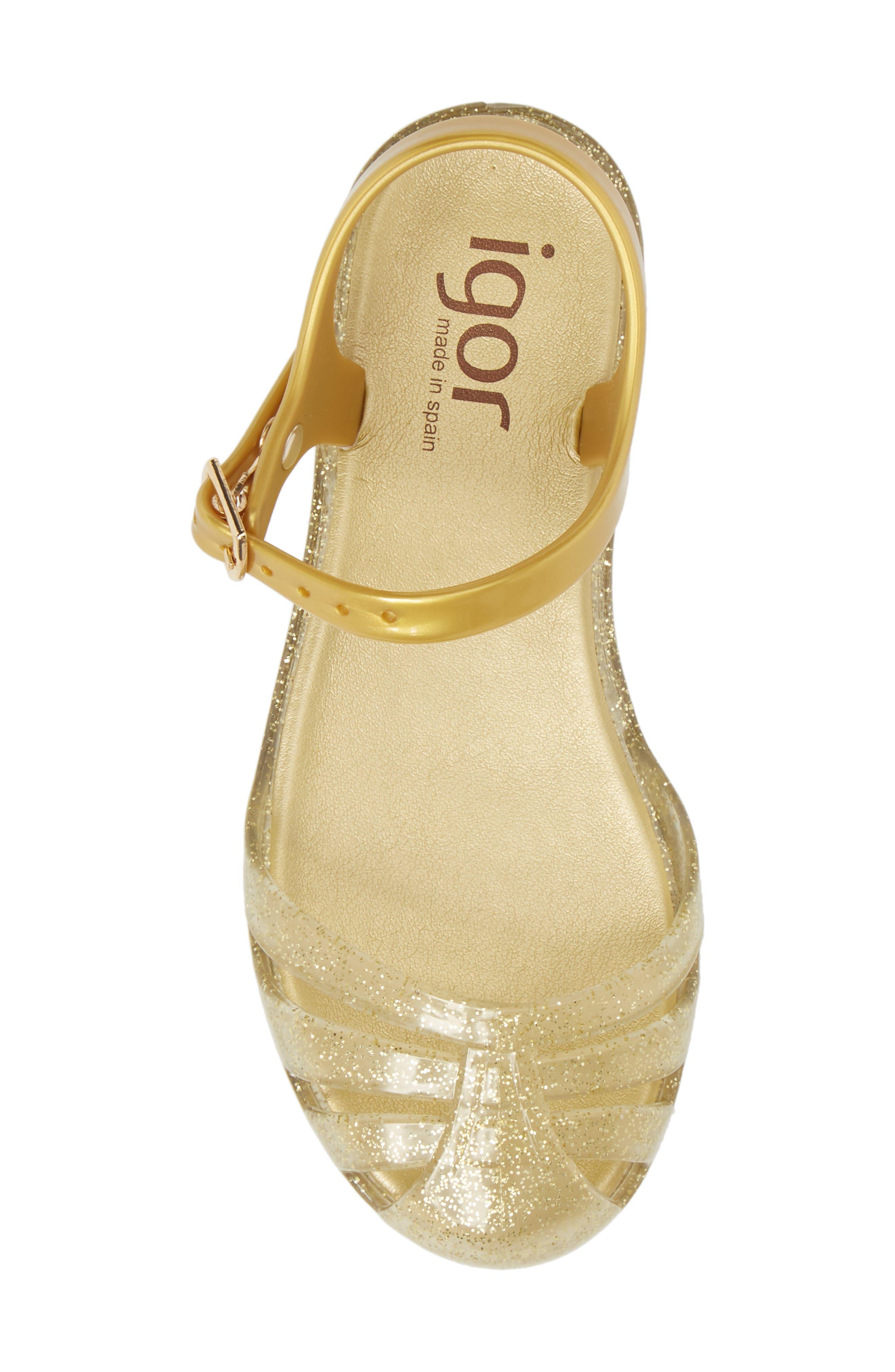 'Mara Mini' Glitter Jelly Sandal,                             Alternate thumbnail 5, color,                             Gold Glitter