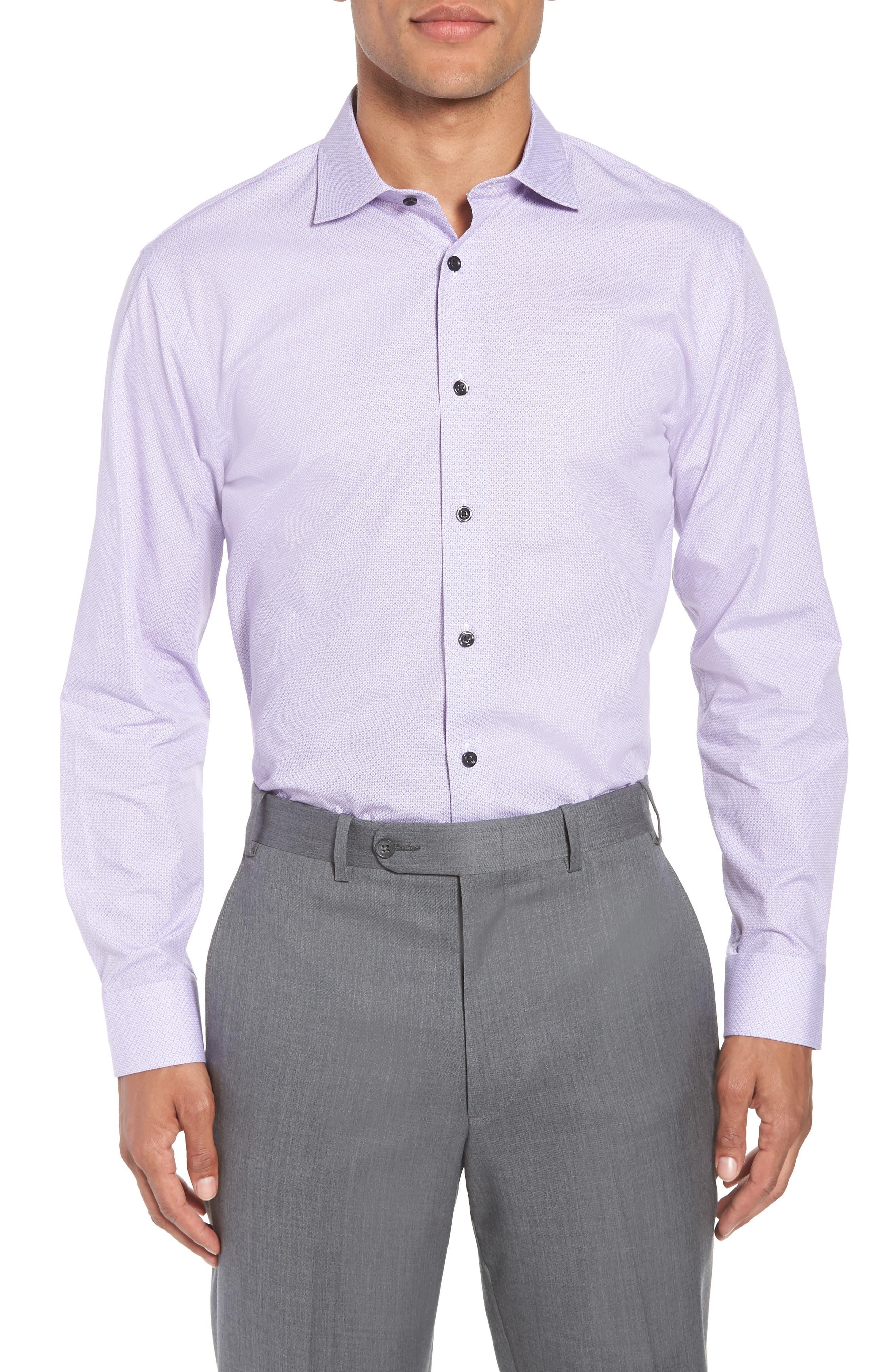 Trim Fit Geometric Dress Shirt,                         Main,                         color, Purple Regal
