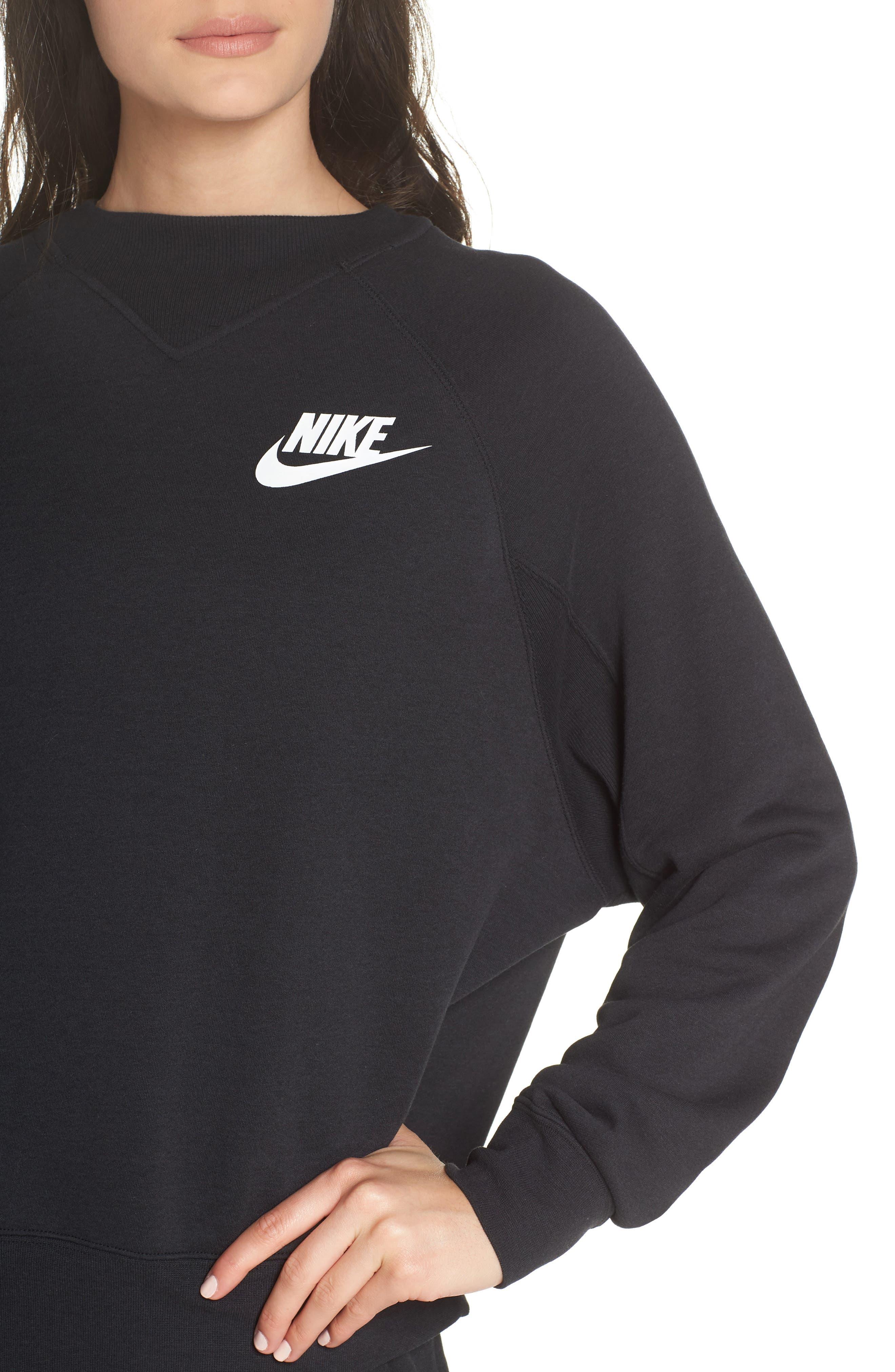Sportswear Rally Sweatshirt,                             Alternate thumbnail 4, color,                             Black/ White