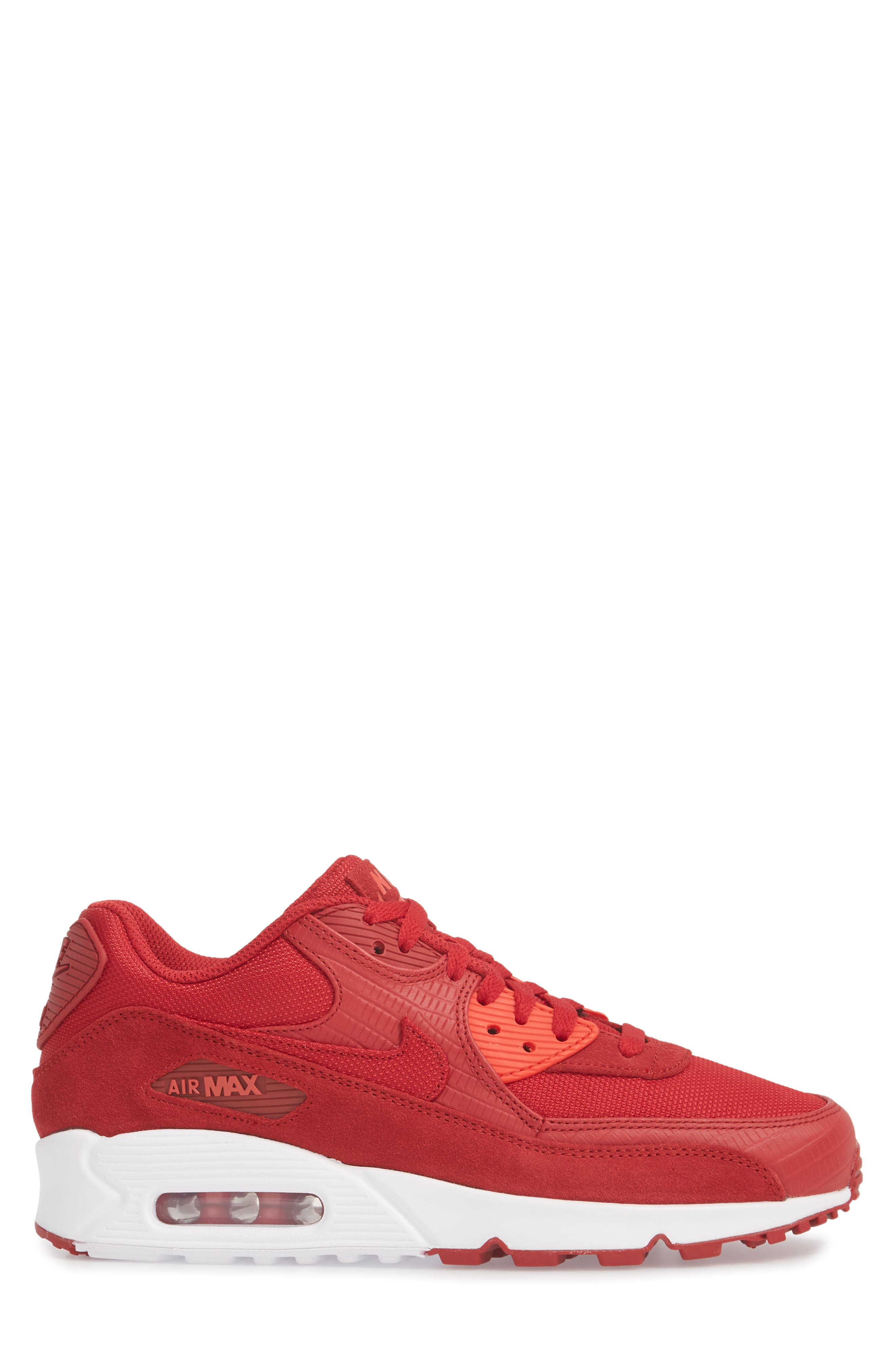 Air Max 90 Premium Sneaker,                             Alternate thumbnail 3, color,                             Gym Red/ White