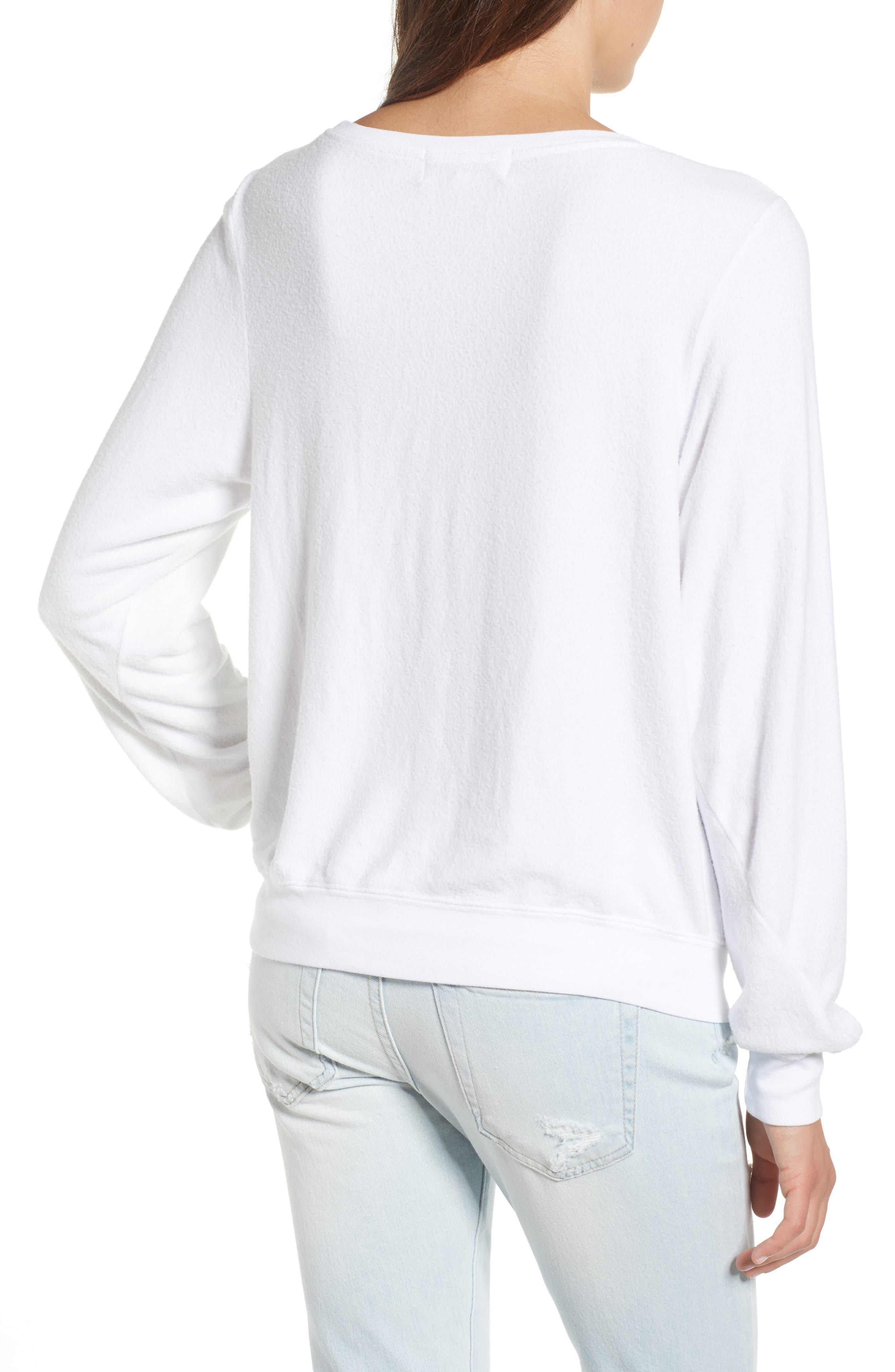 Be Happy Sweatshirt,                             Alternate thumbnail 2, color,                             Clean White