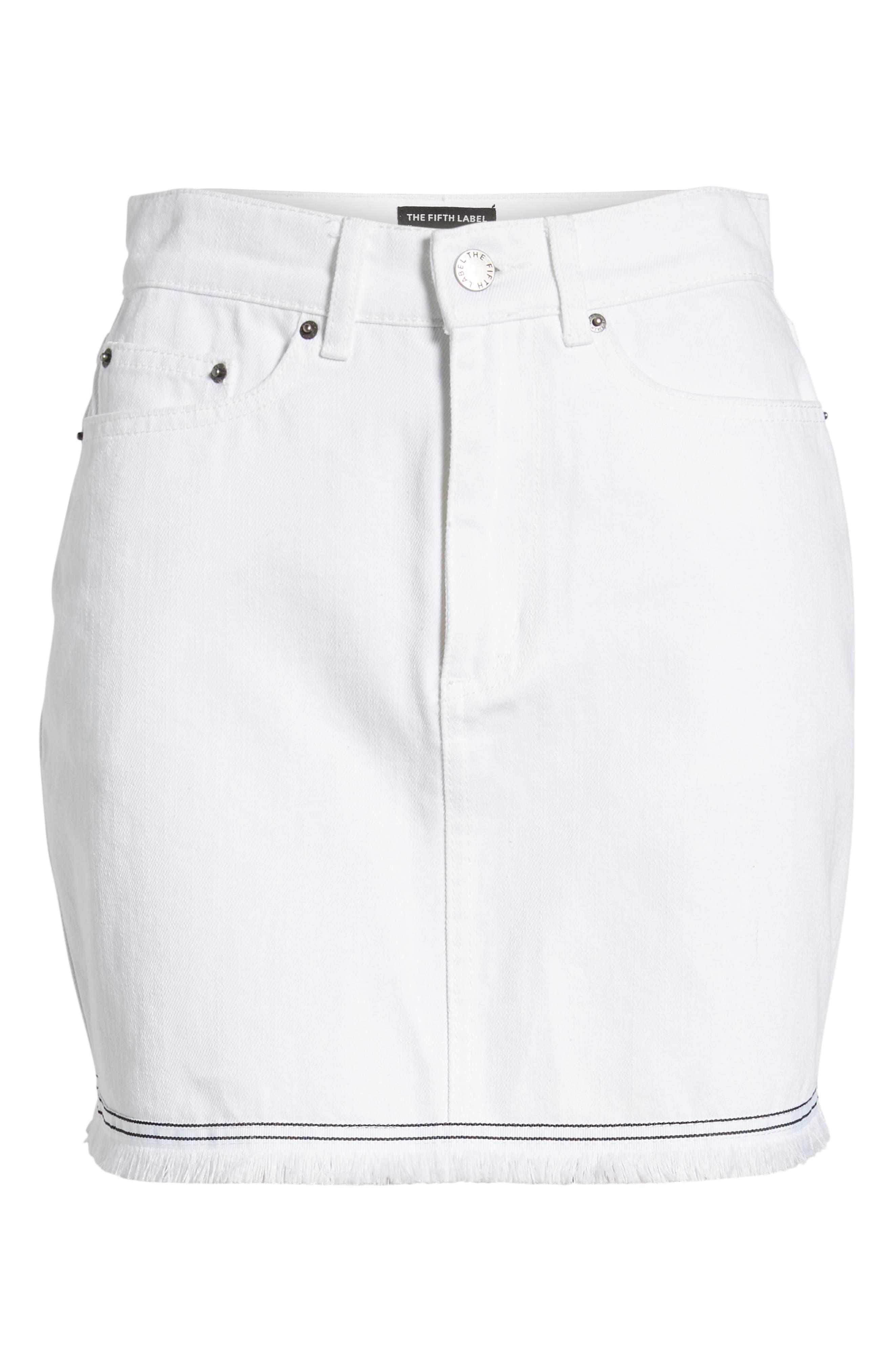 Social Fray Hem Denim Miniskirt,                             Alternate thumbnail 7, color,                             White