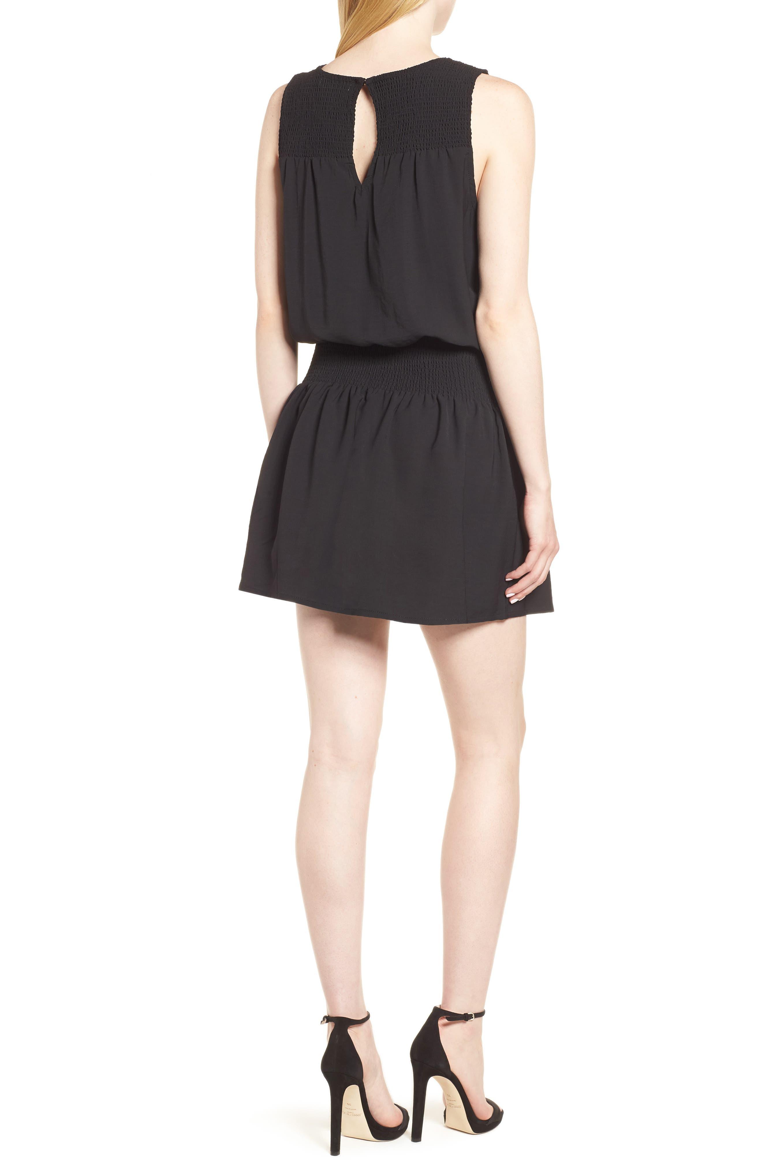 Bishop + Young Smocked Dress,                             Alternate thumbnail 2, color,                             Black
