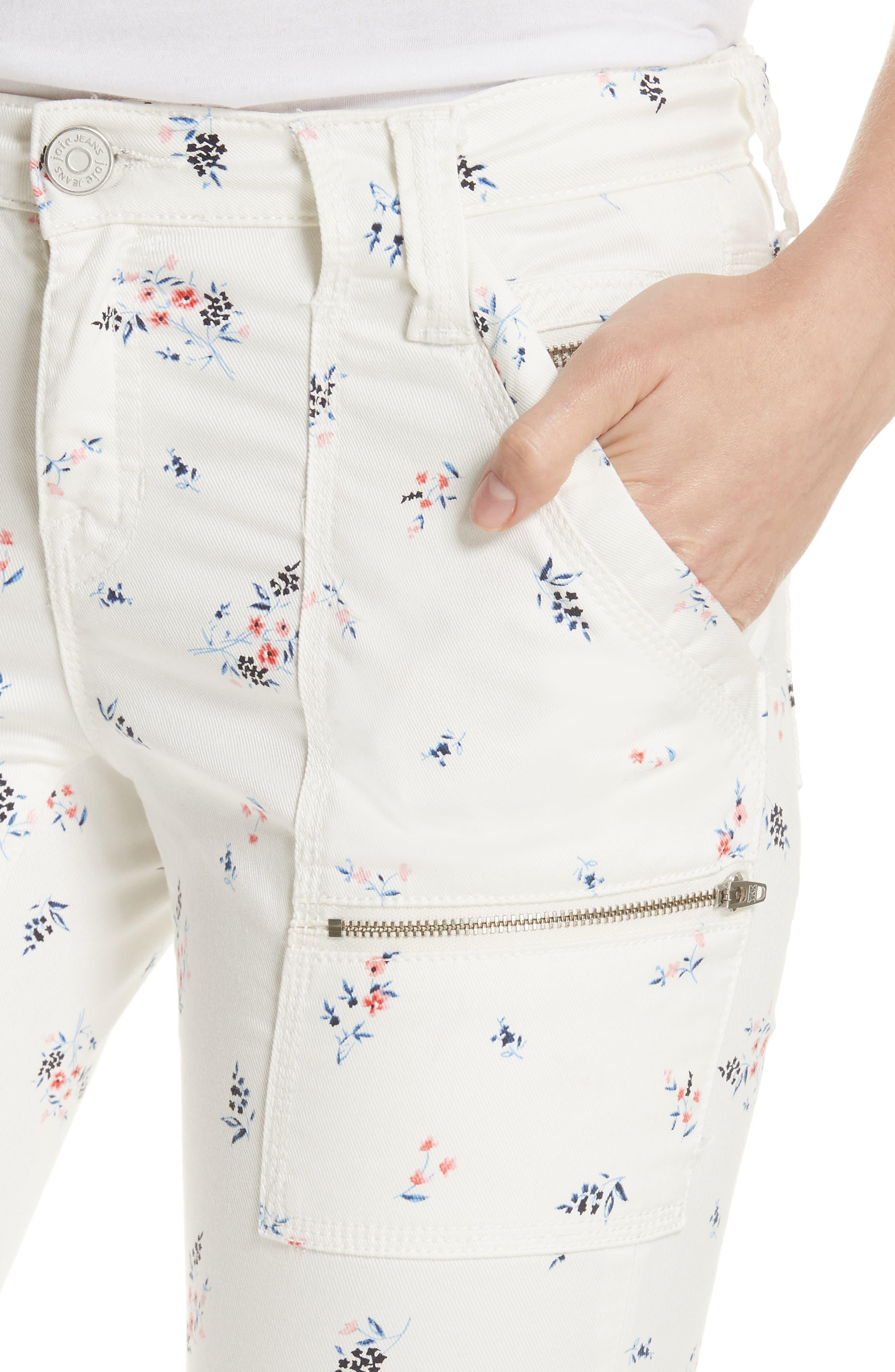 Park Floral Skinny Cargo Pants,                             Alternate thumbnail 4, color,                             Porcelain