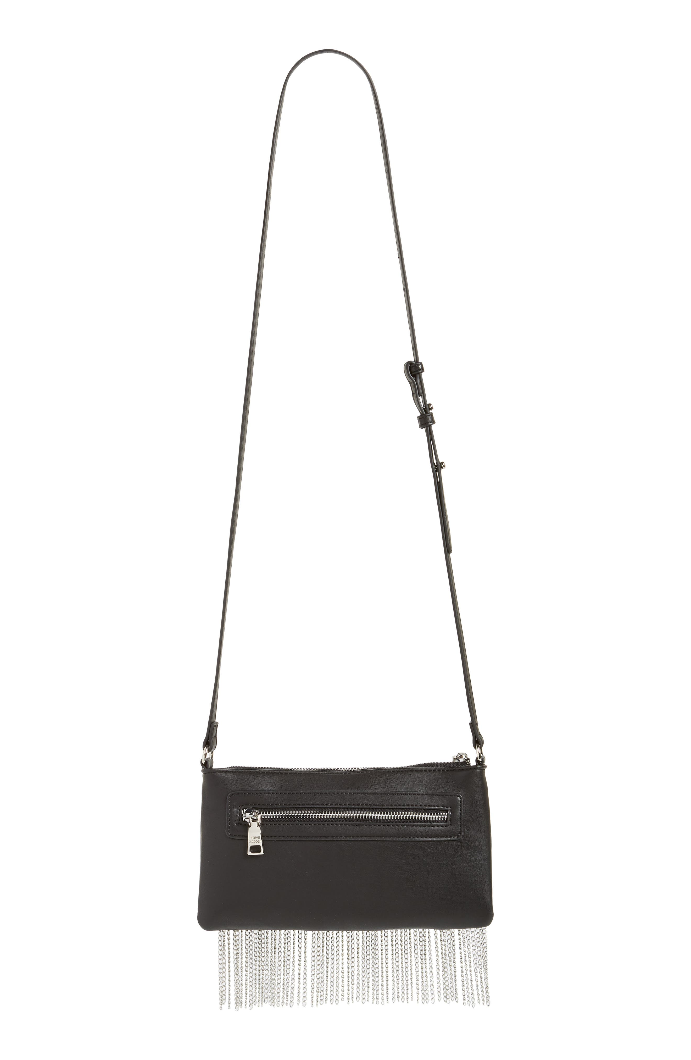 Chain Fringe Crossbody Bag,                             Alternate thumbnail 4, color,                             Black