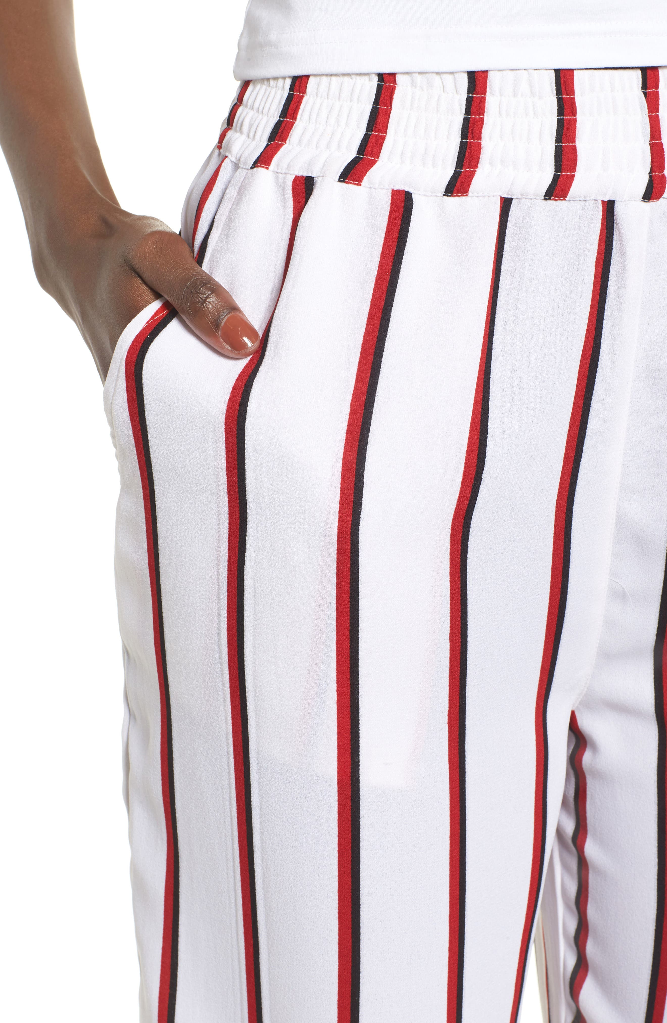 Counting Moons Stripe Culottes,                             Alternate thumbnail 4, color,                             Chili Red