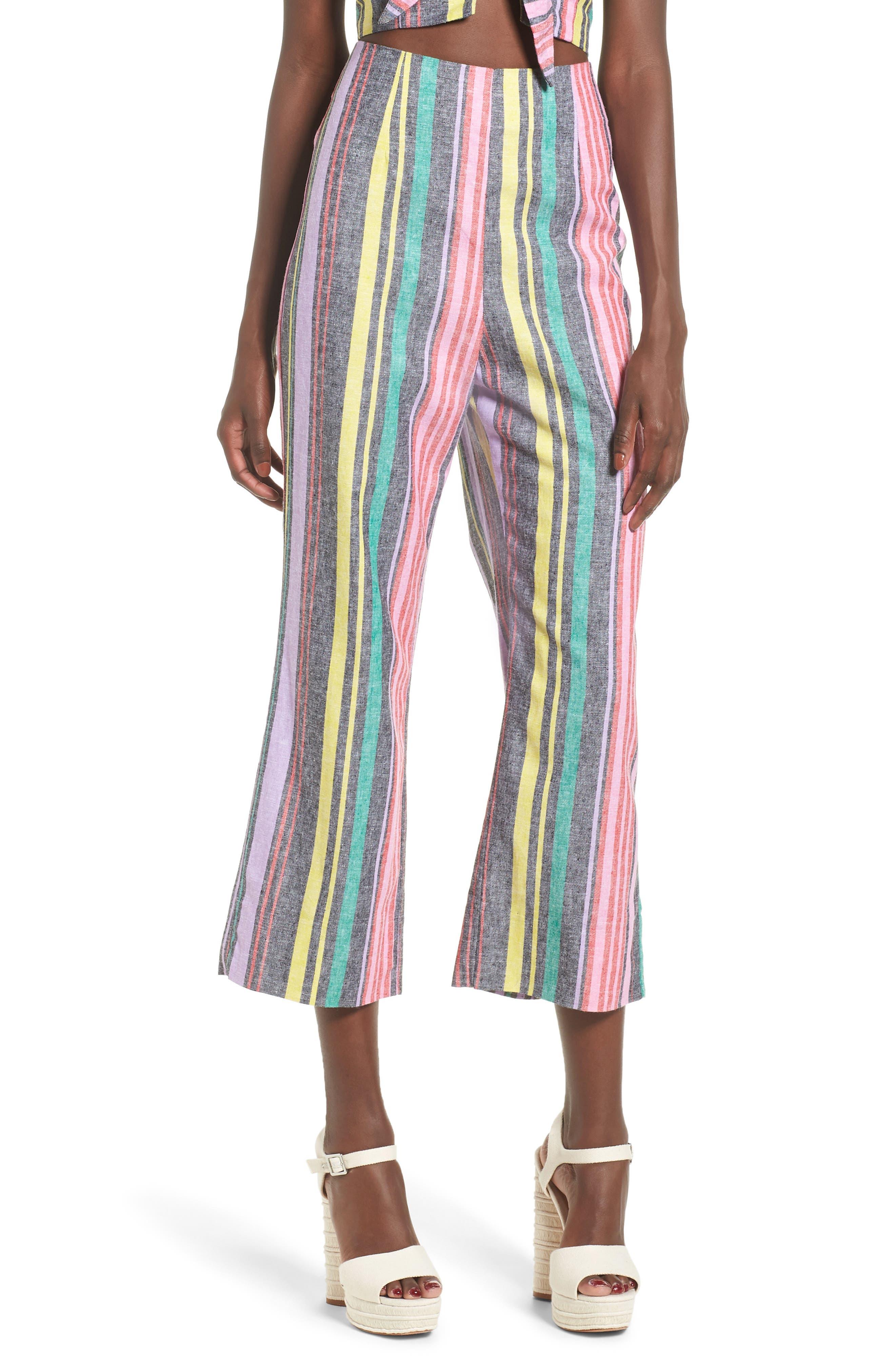 Karina High Waist Crop Flare Pant,                         Main,                         color, Rainbow Stripe