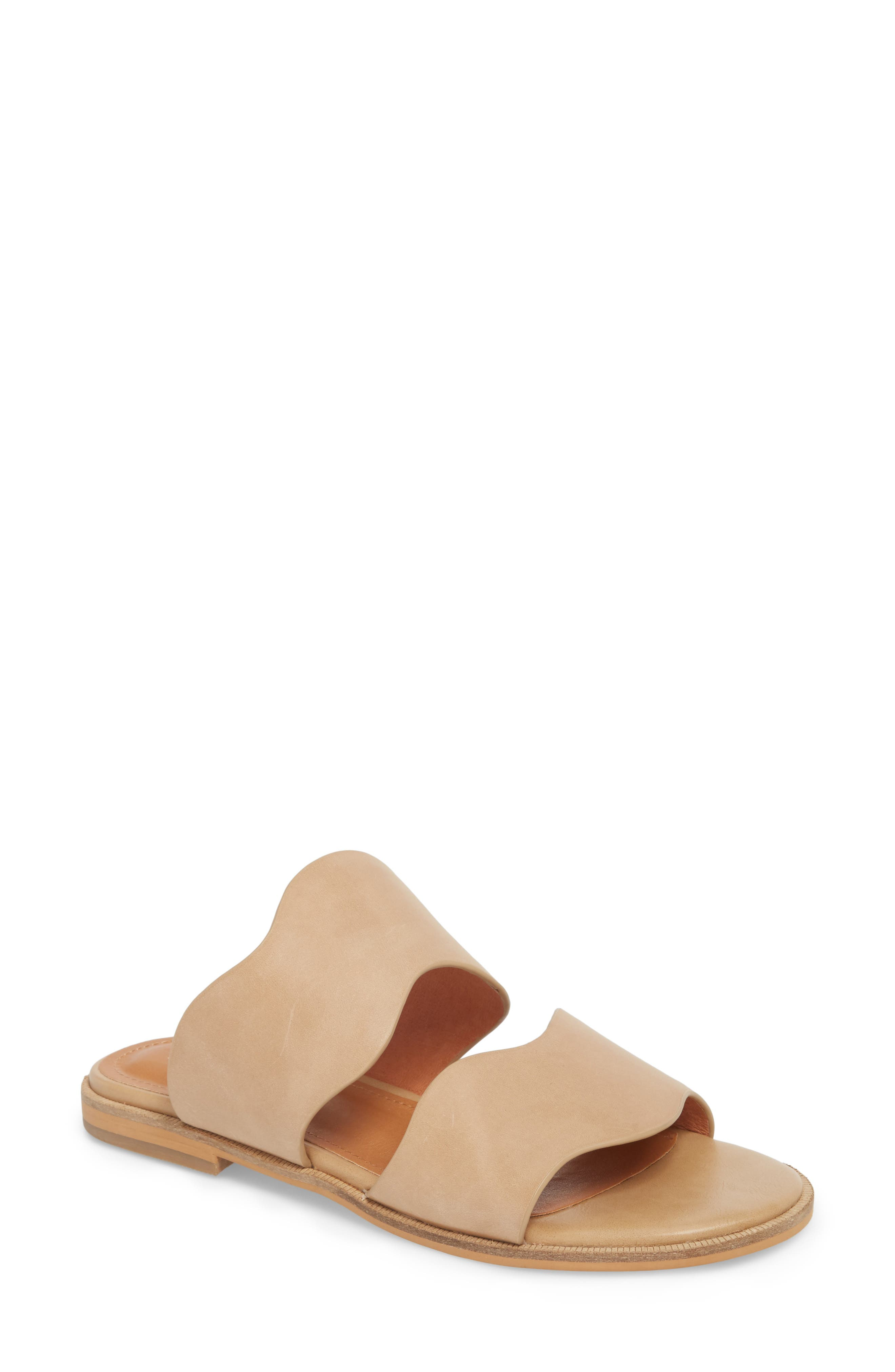 Thermos Scalloped Slide Sandal,                             Main thumbnail 1, color,                             Natural Leather