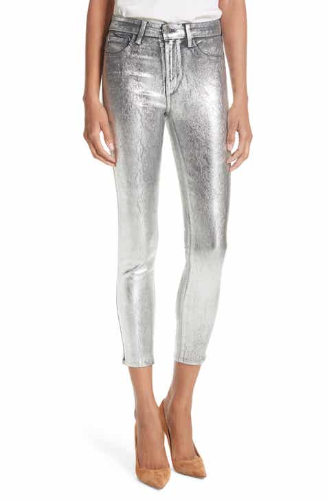 4e380ec41e7 L AGENCE Margot Metallic Coated Crop Skinny Jeans (Silver Foil)