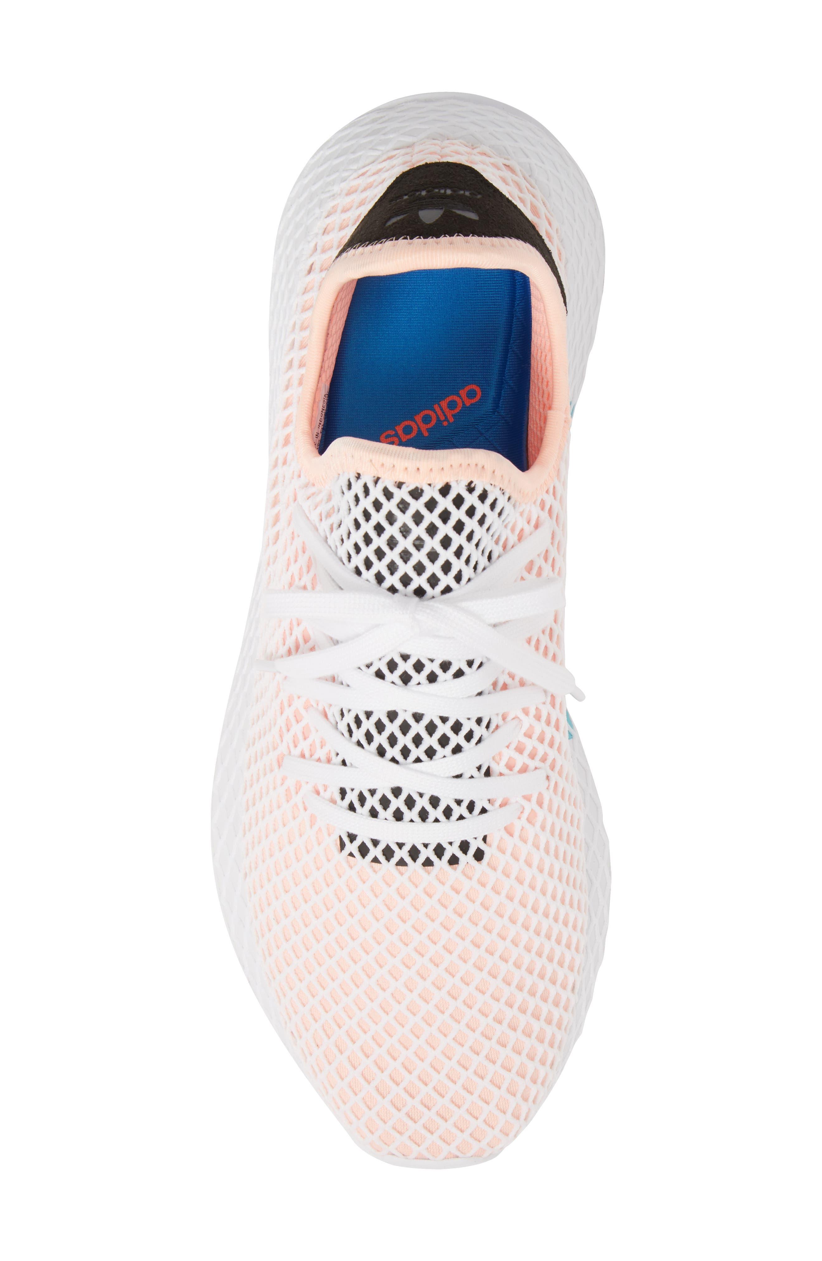Deerupt Runner Sneaker,                             Alternate thumbnail 5, color,                             Black/ Black/ White