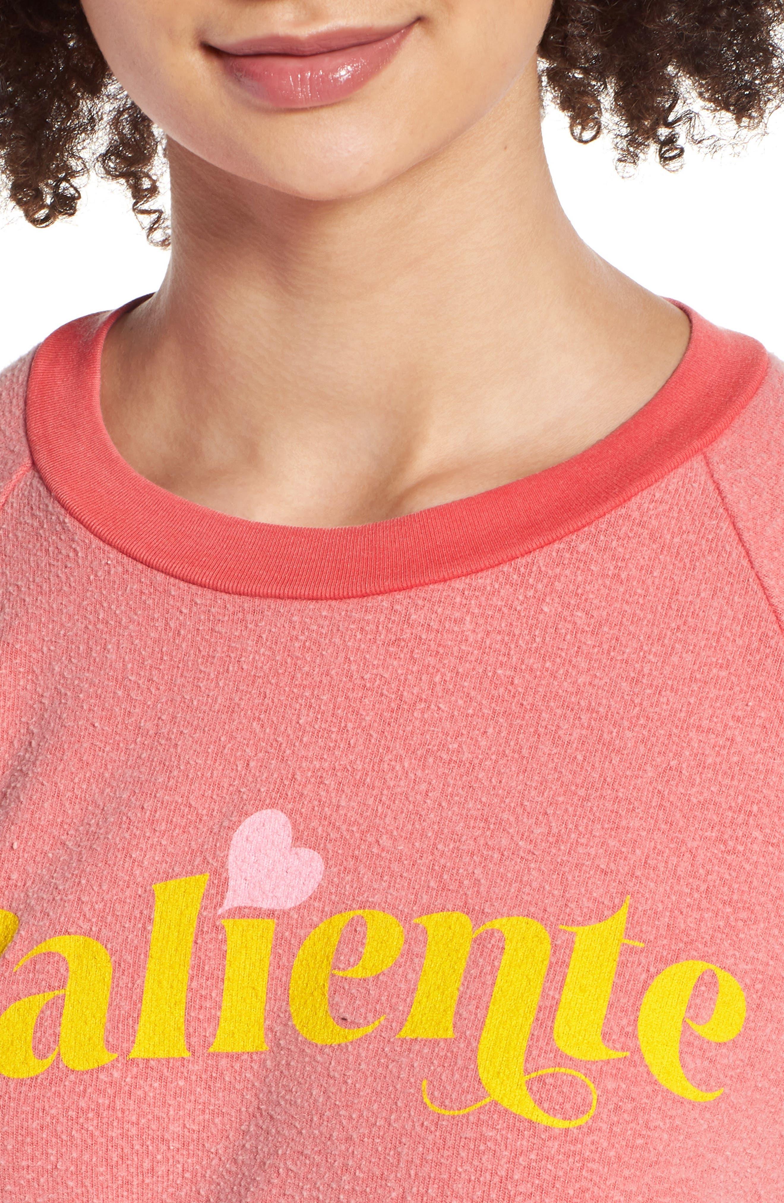 Caliente Junior Sweatshirt,                             Alternate thumbnail 4, color,                             Pigment Hot Lipstick