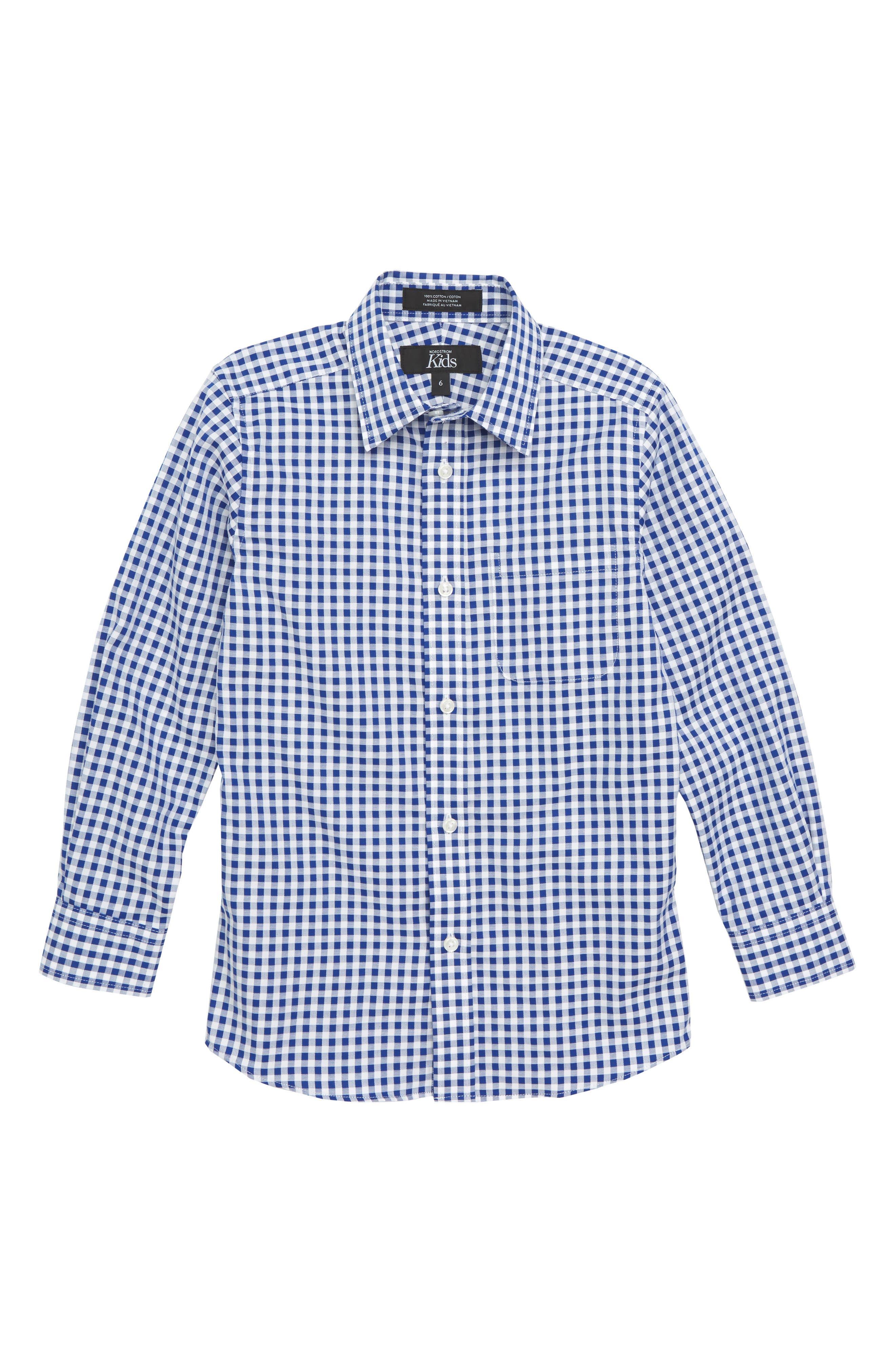 Check Dress Shirt,                             Main thumbnail 1, color,                             Blue Mazarine- White Check