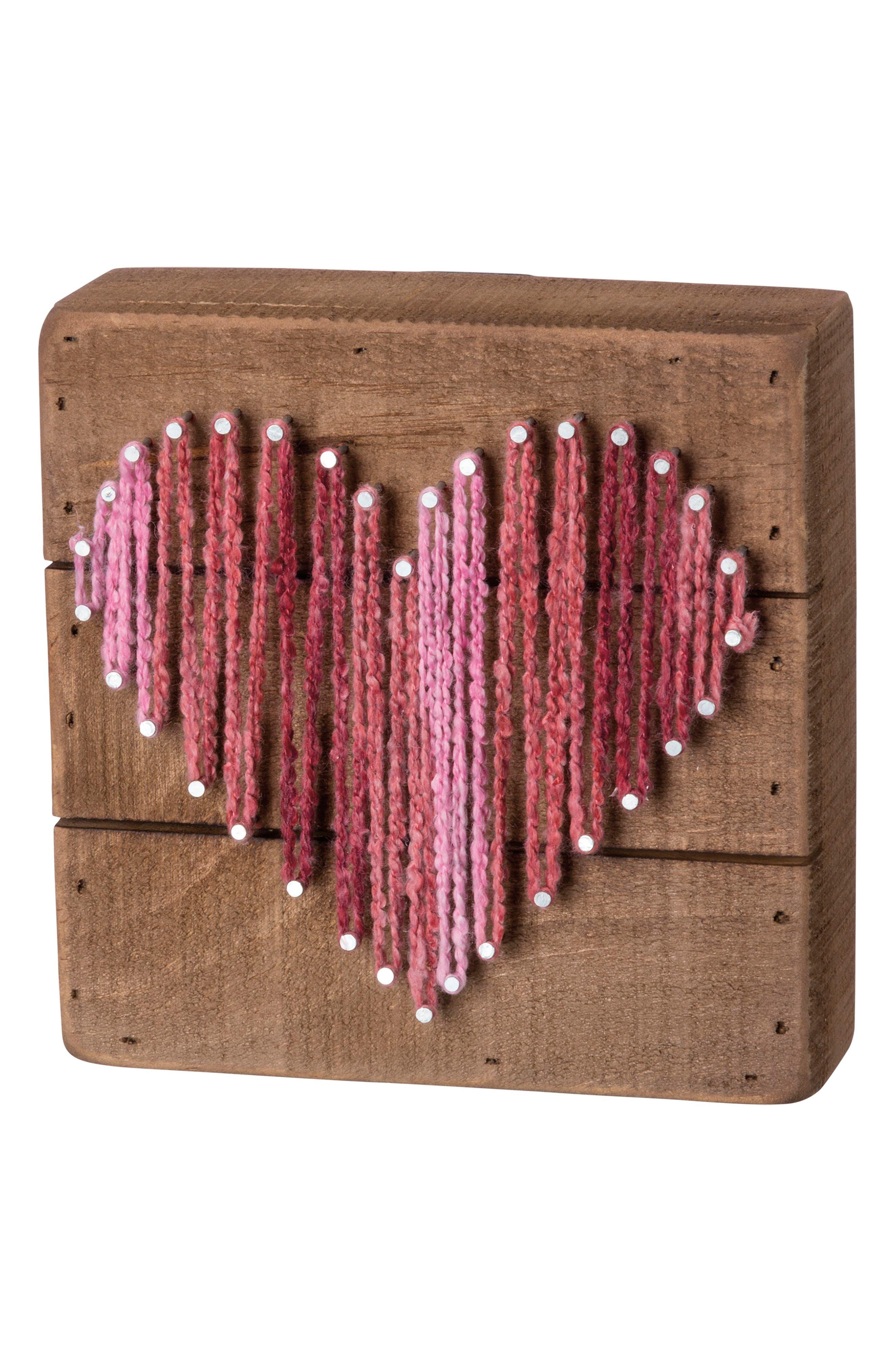 Heart String Art Box Sign,                             Main thumbnail 1, color,                             Brown