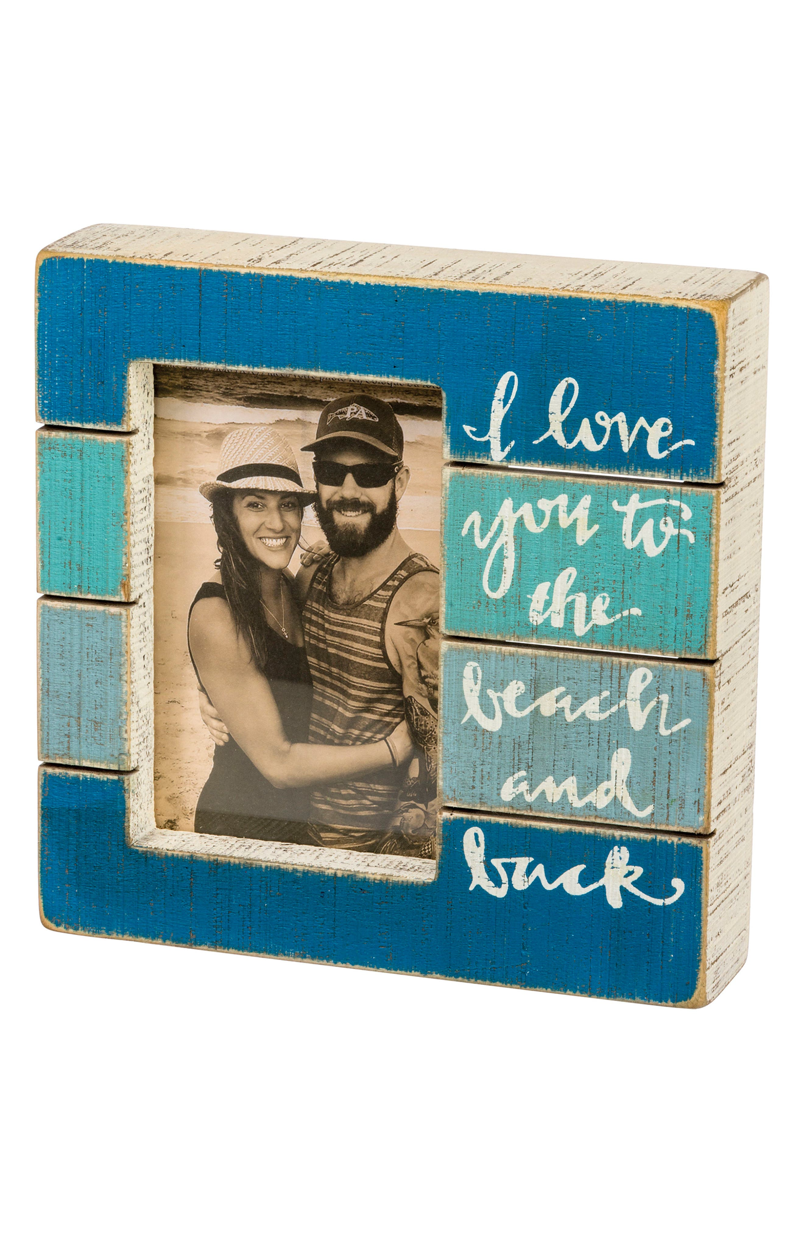 Beach and Back Slat Picture Frame,                             Main thumbnail 1, color,                             Blue