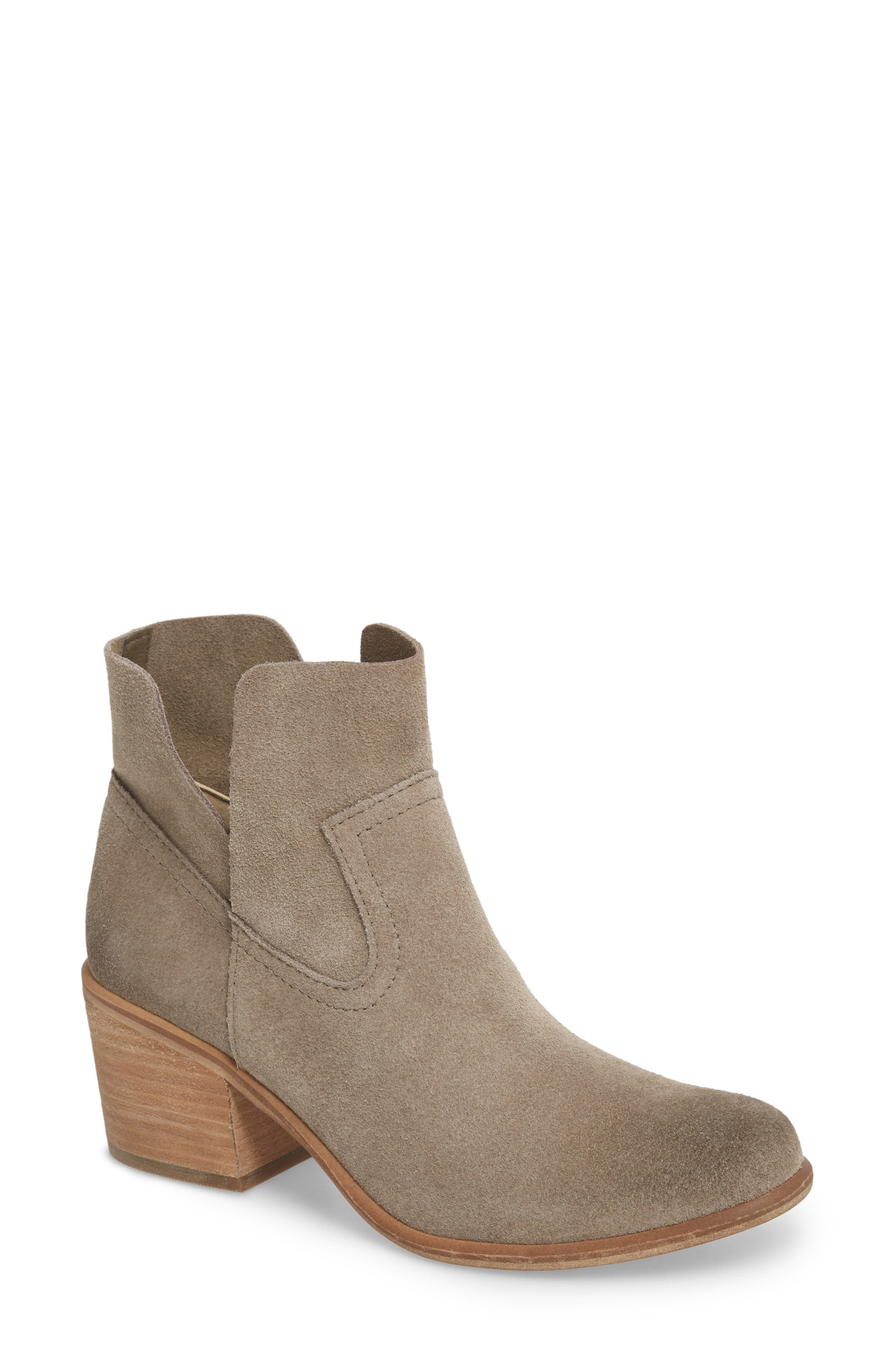 Brice Notched Bootie,                             Main thumbnail 1, color,                             Grey Suede