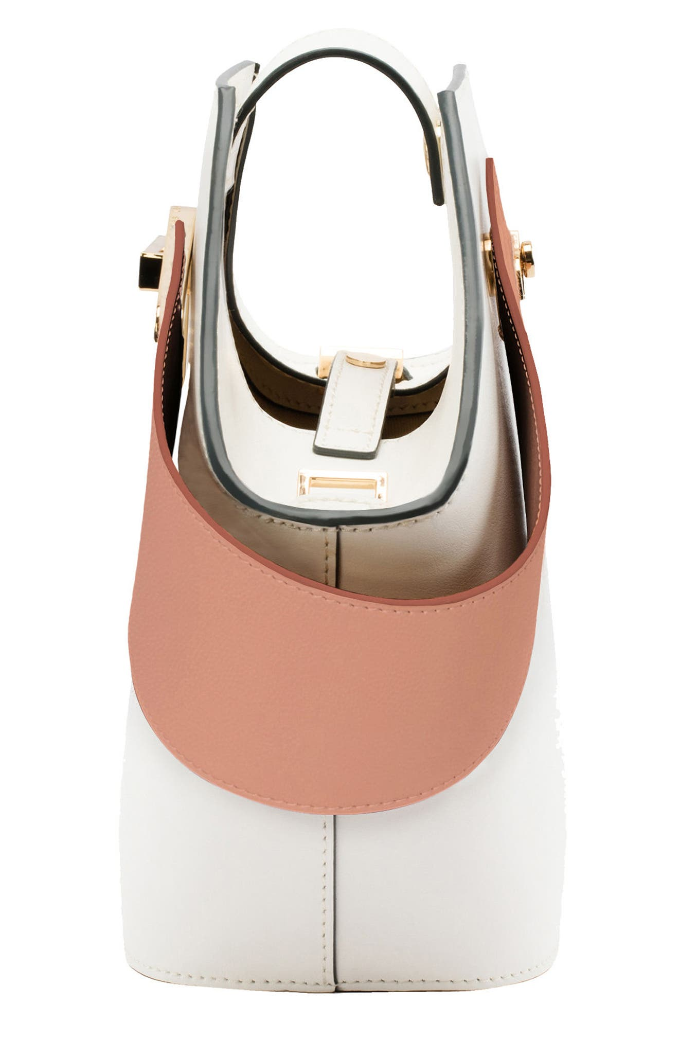 Mini Johnny Leather Bucket Bag,                             Alternate thumbnail 4, color,                             White-Blush