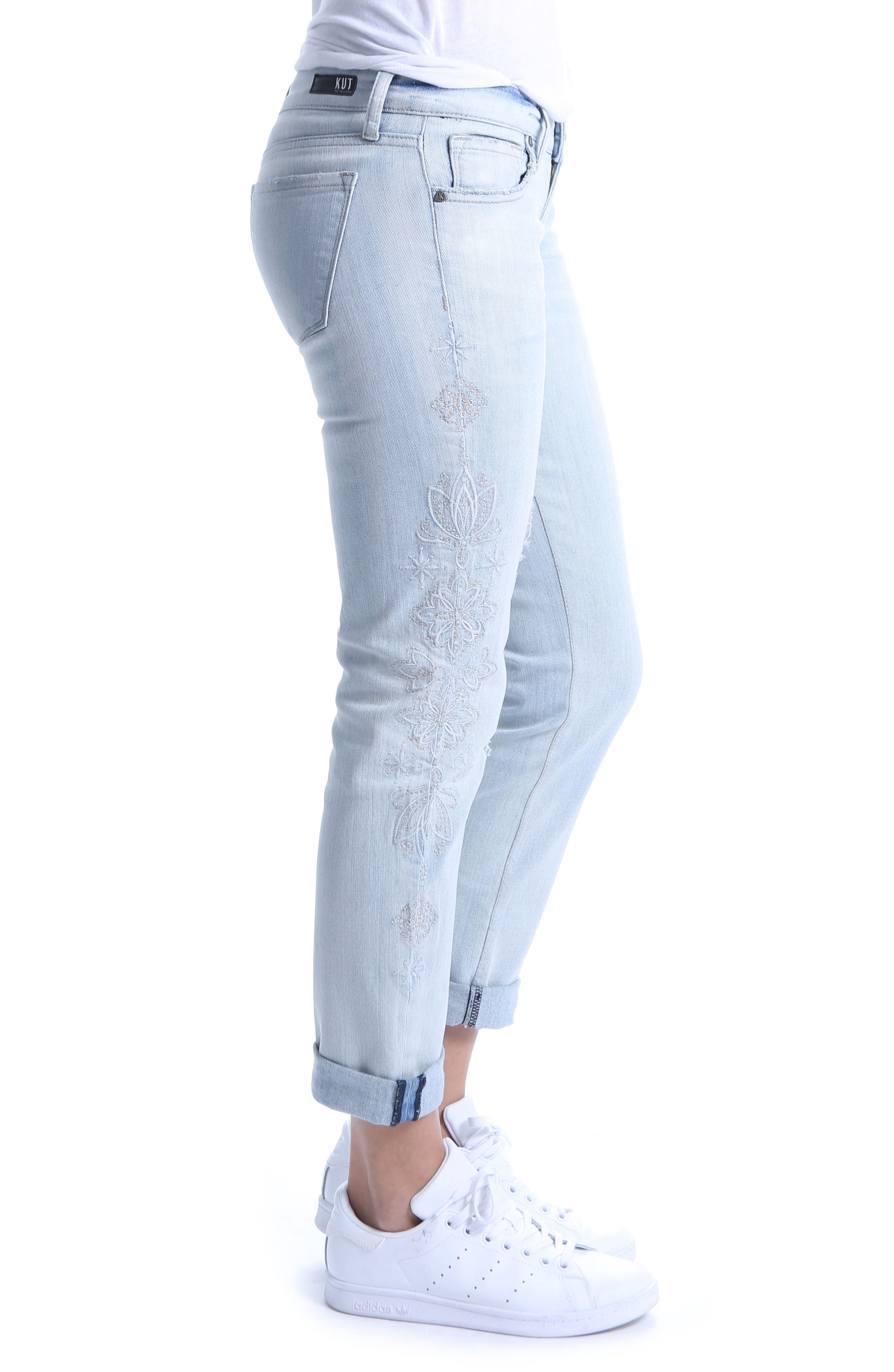 KUT from the Kloth Catherine Embroidered & Ripped Boyfriend Jeans,                             Alternate thumbnail 3, color,                             Fortified