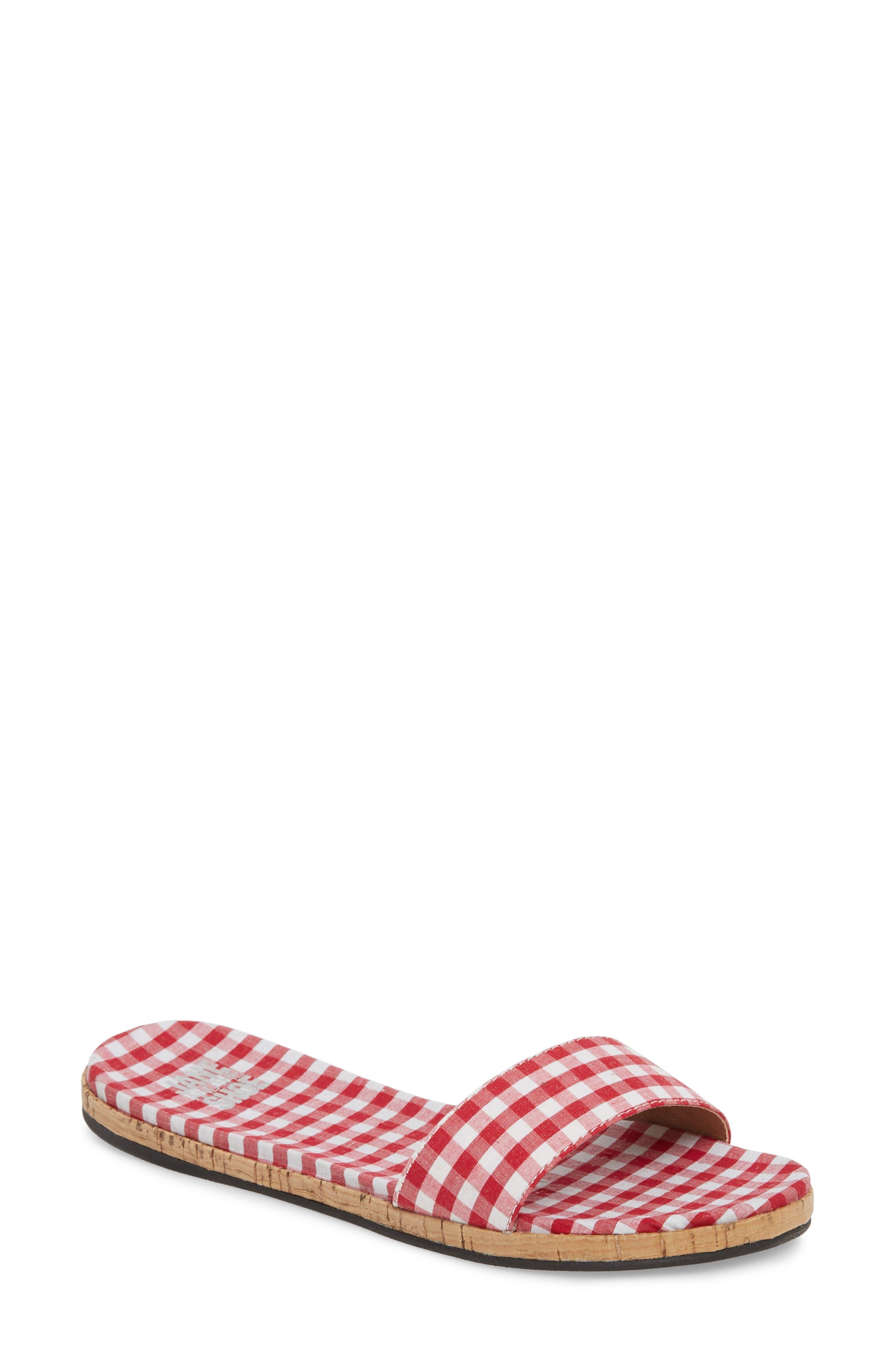 Jill Thin Band Slide Sandal,                             Main thumbnail 1, color,                             Red Gingham