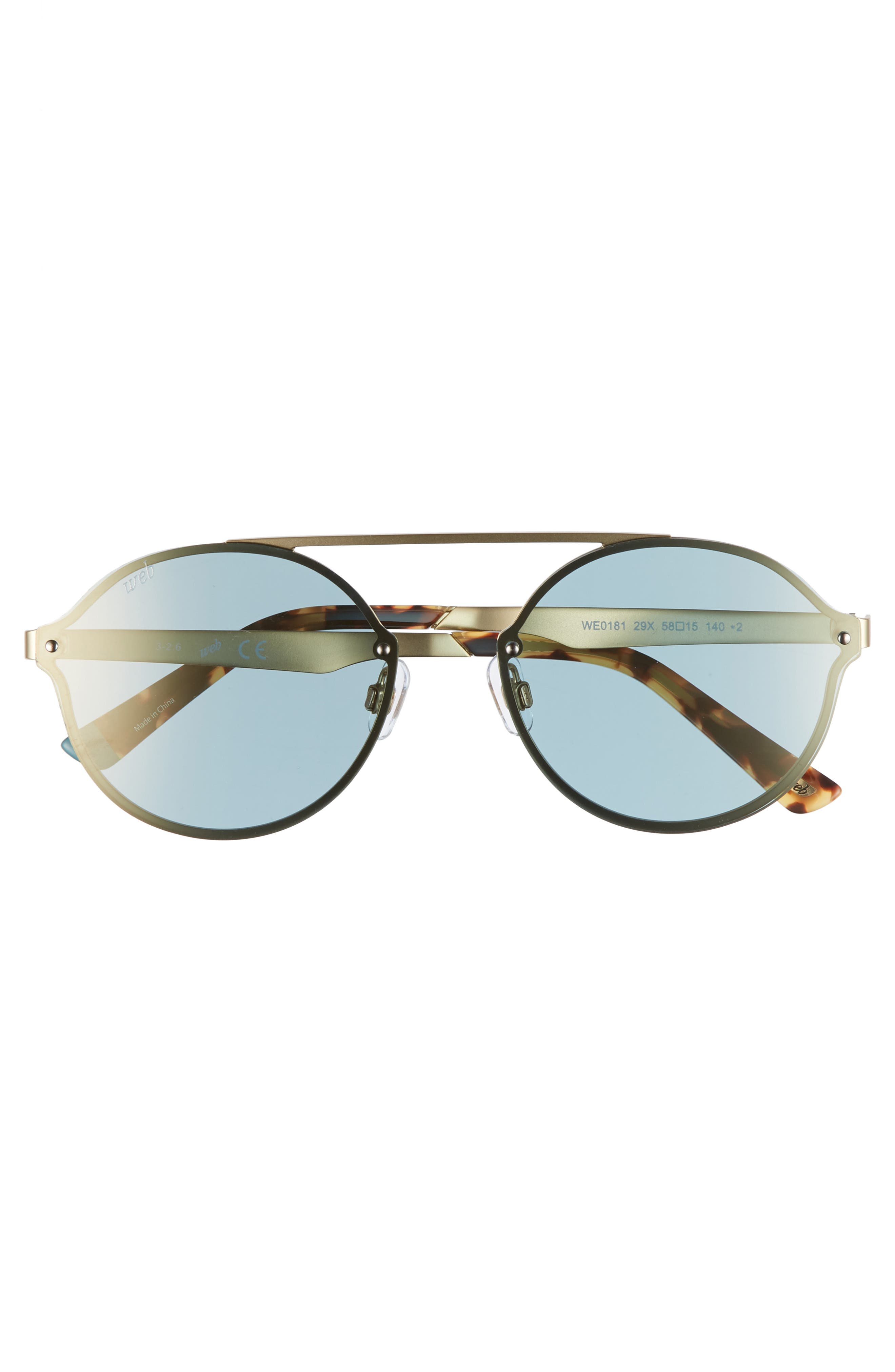 58mm Round Sunglasses,                             Alternate thumbnail 3, color,                             Gold/ Blue